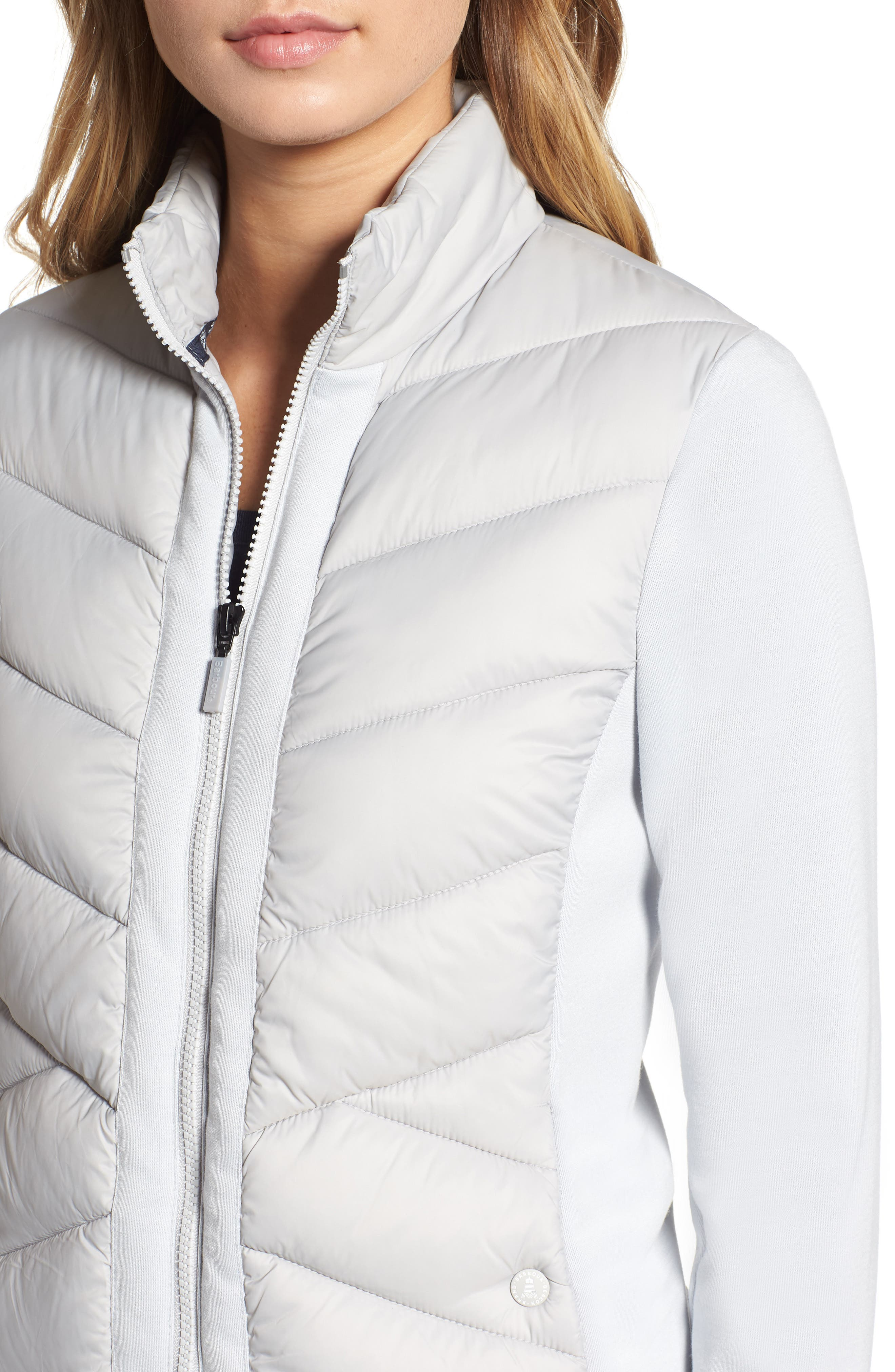 BARBOUR,                             Hirsel Chevron Quilted Sweater Jacket,                             Alternate thumbnail 4, color,                             ICE WHITE/ ICE WHITE MARL