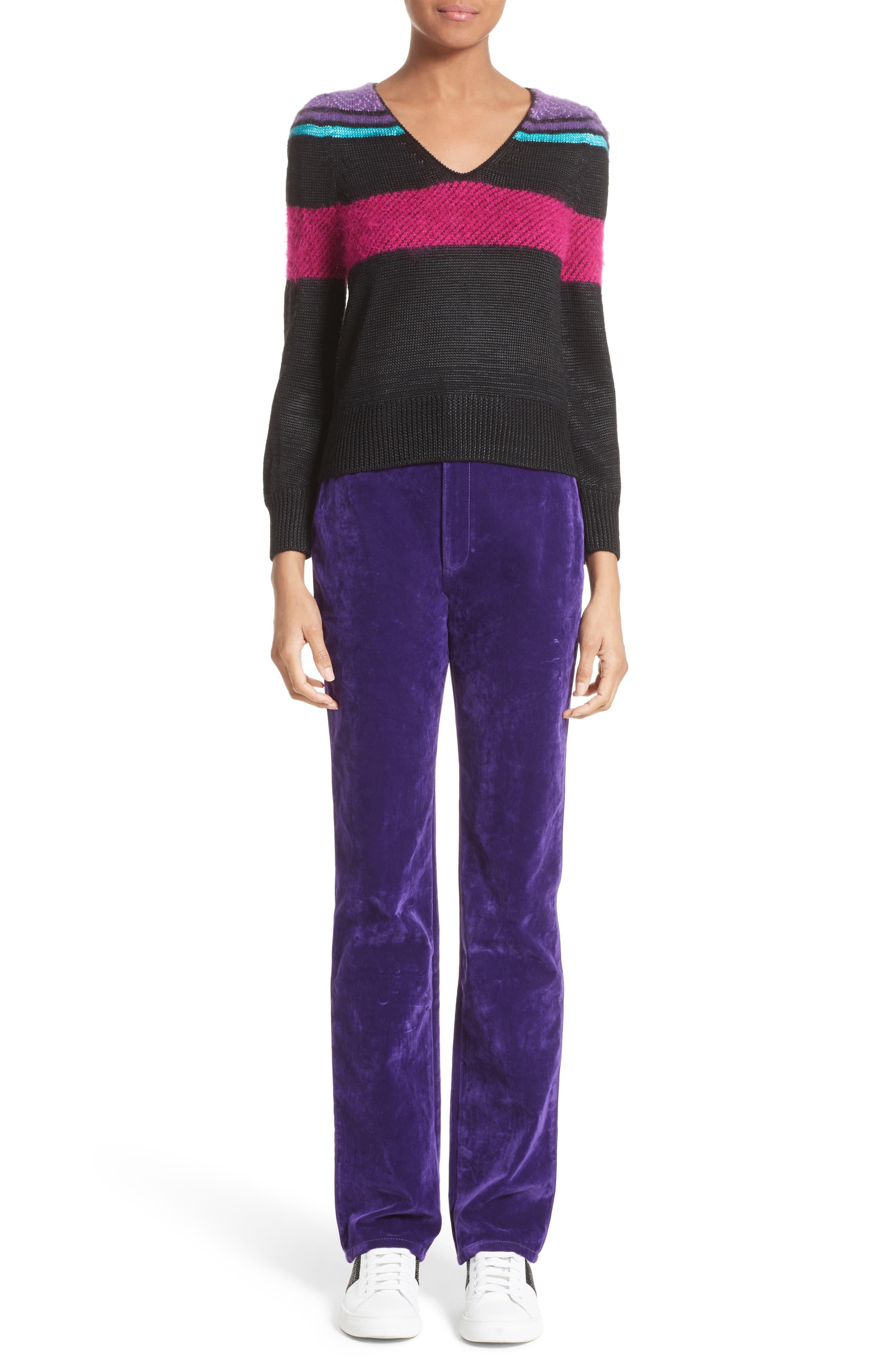 '80s Stripe Knit Sweater,                             Alternate thumbnail 7, color,                             002
