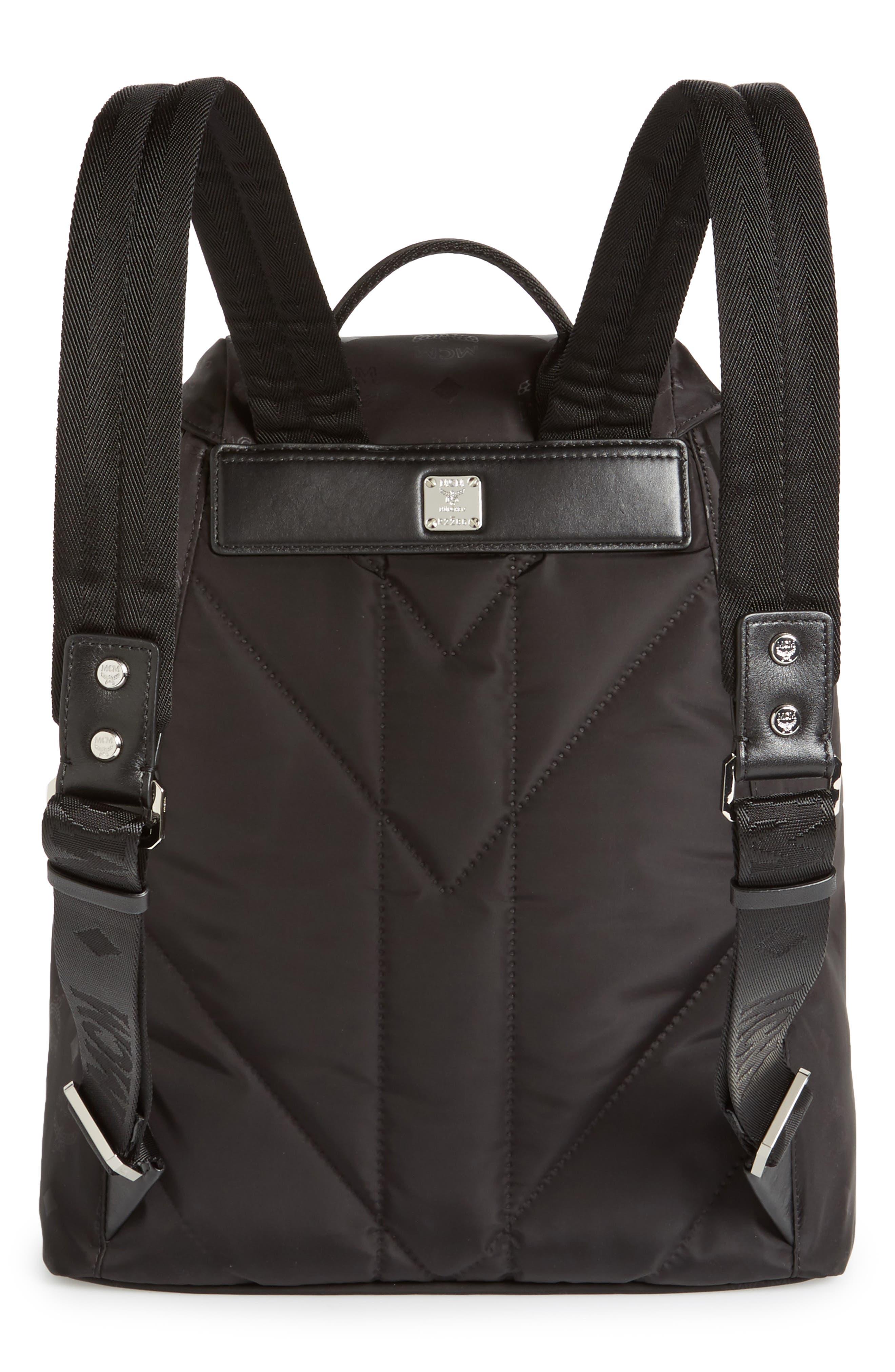 Small Dieter Monogrammed Nylon Backpack,                             Alternate thumbnail 2, color,                             BLACK