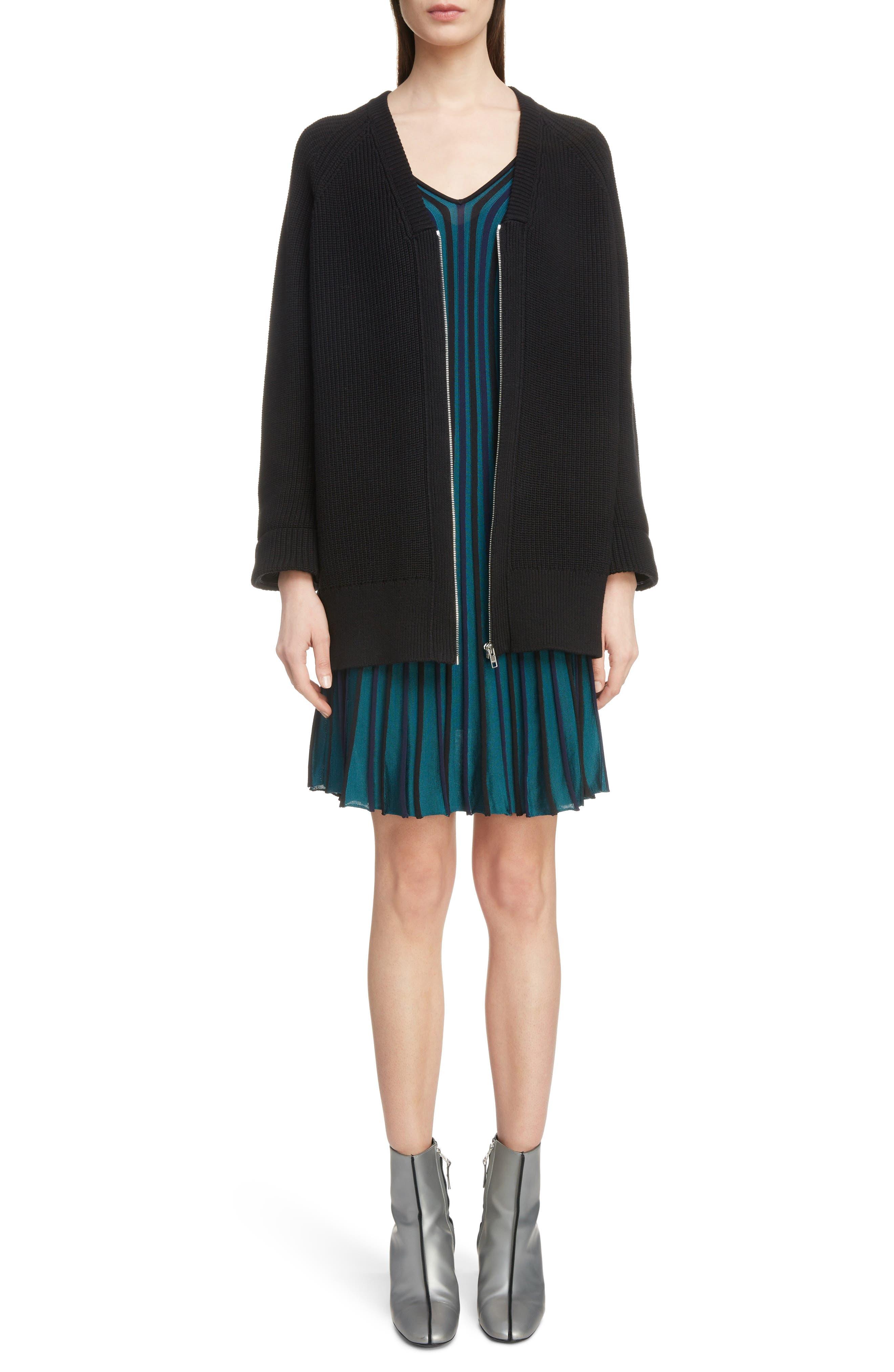 Sport Long Zip Cardigan,                         Main,                         color, BLACK
