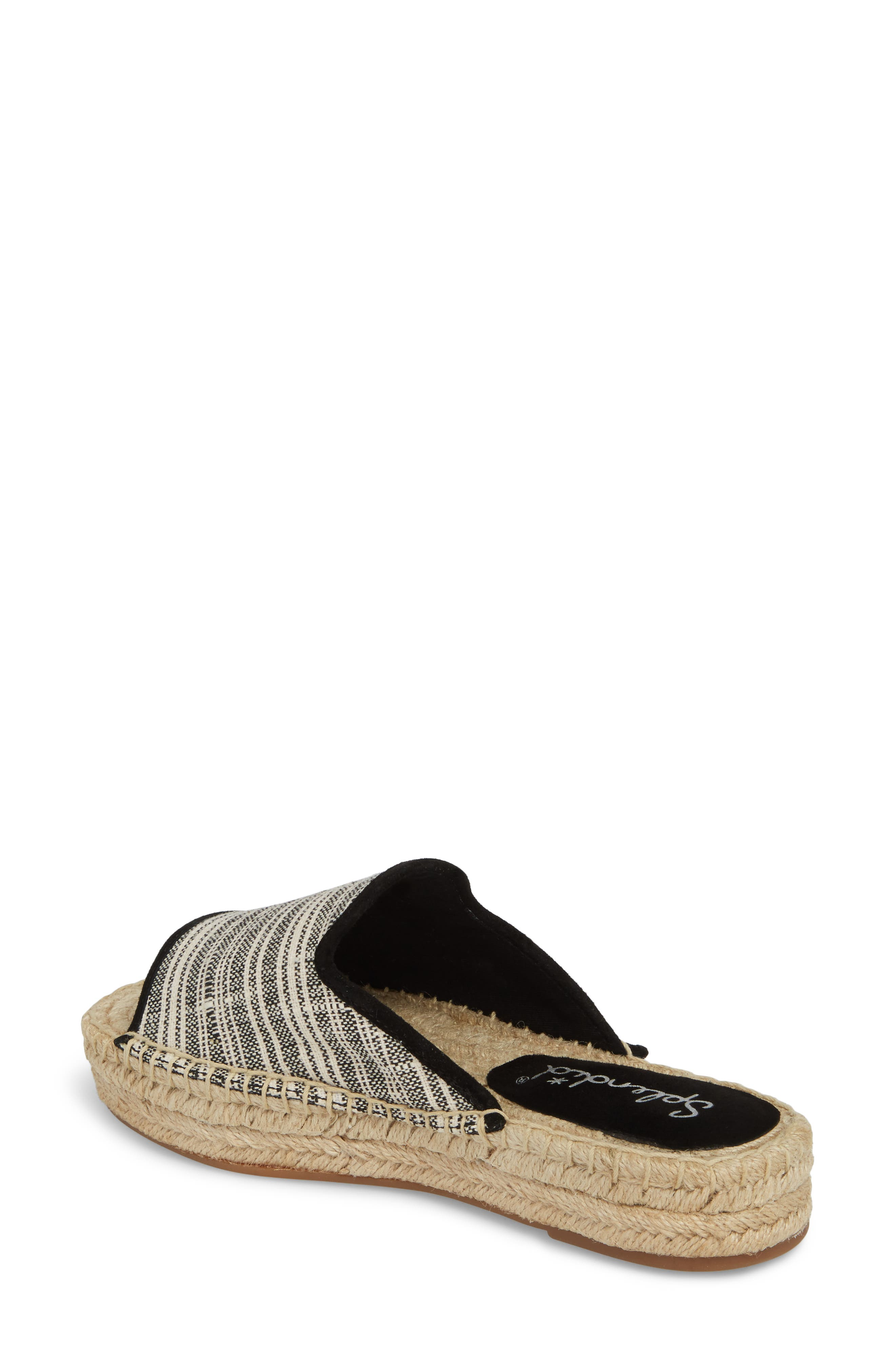 Franci Espadrille Slide Sandal,                             Alternate thumbnail 2, color,                             BLACK/ NATURAL FABRIC