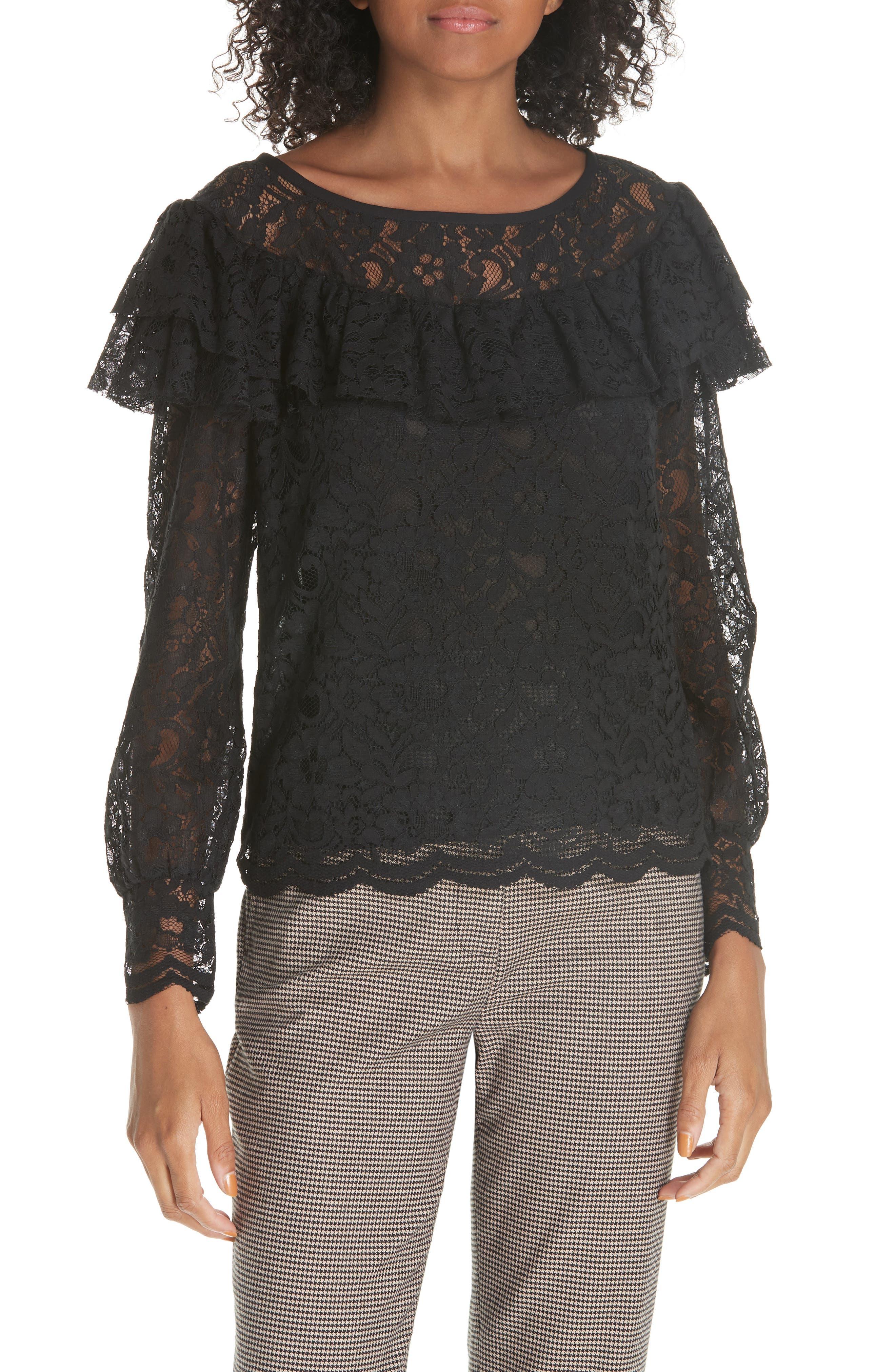 Cotton Blend Lace Ruffle Blouse,                         Main,                         color, 001