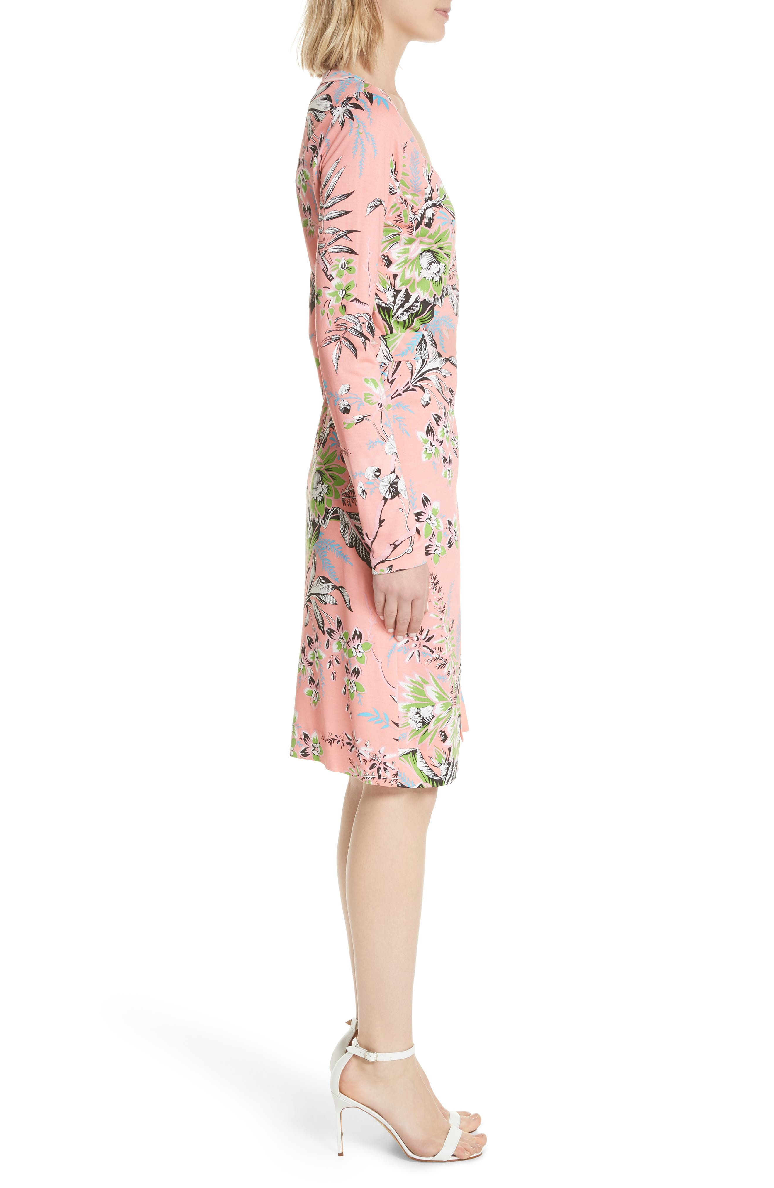 Julian Floral Silk Wrap Dress,                             Alternate thumbnail 3, color,
