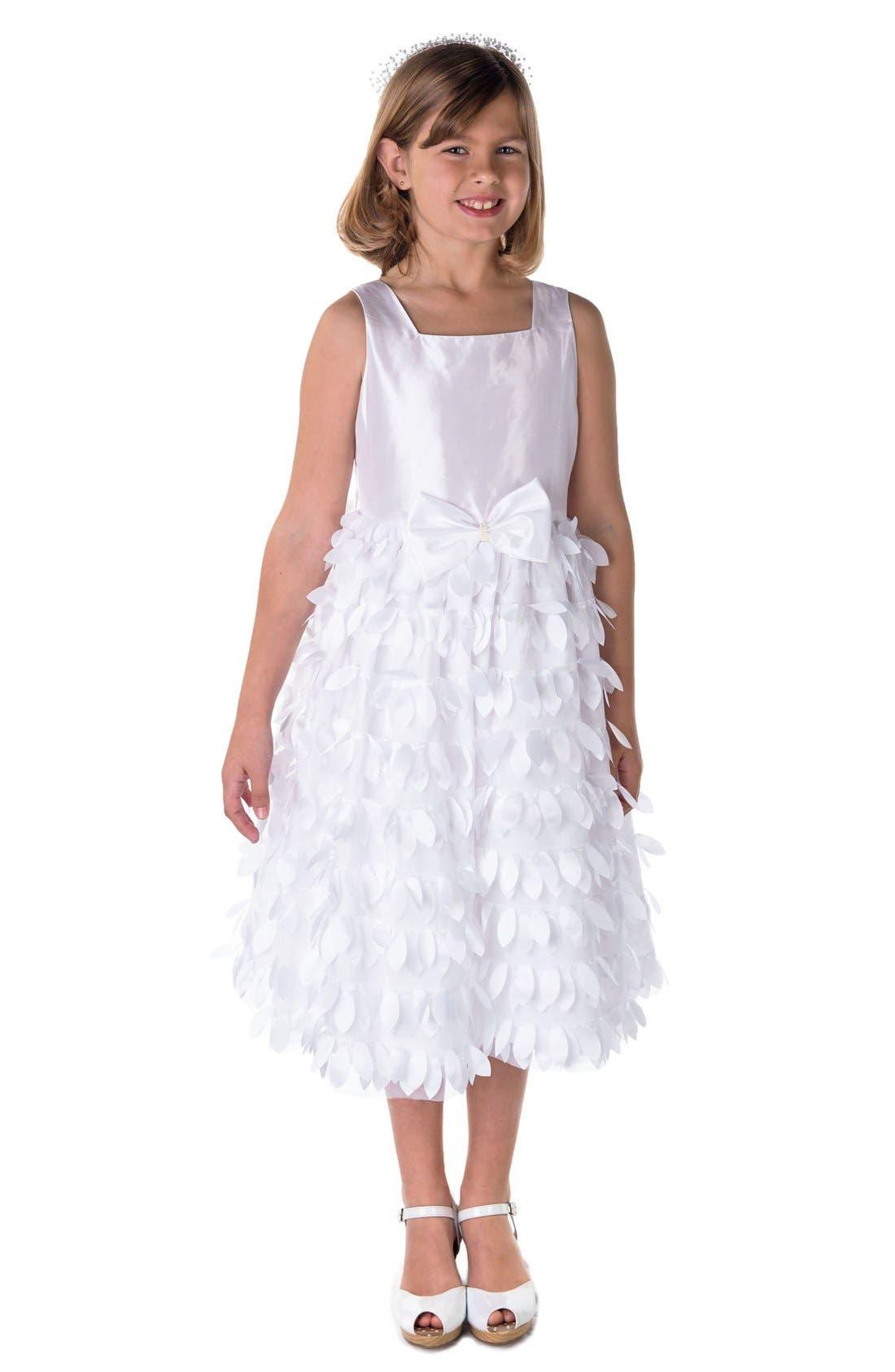 'Petal' Taffeta Flower Girl Dress,                         Main,                         color, 100