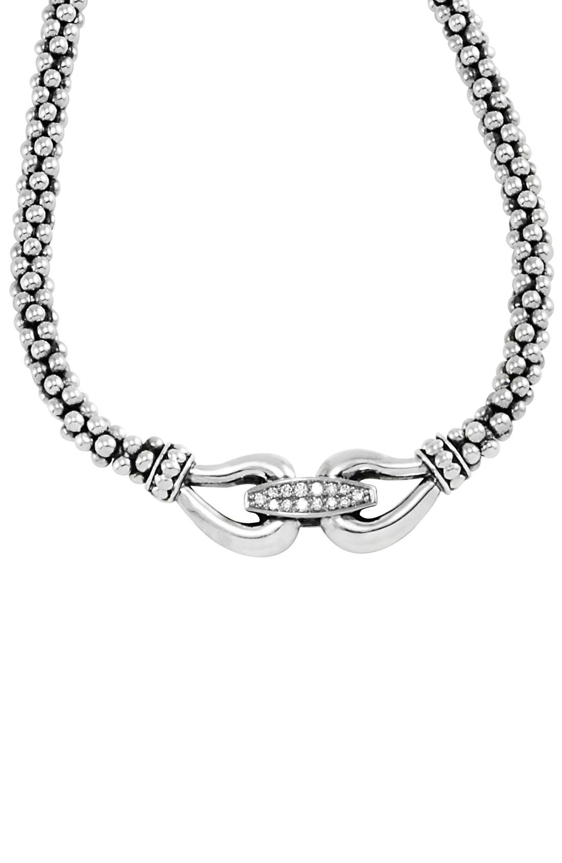 'Derby' Diamond Buckle Rope Necklace,                             Alternate thumbnail 3, color,                             SILVER/ GOLD