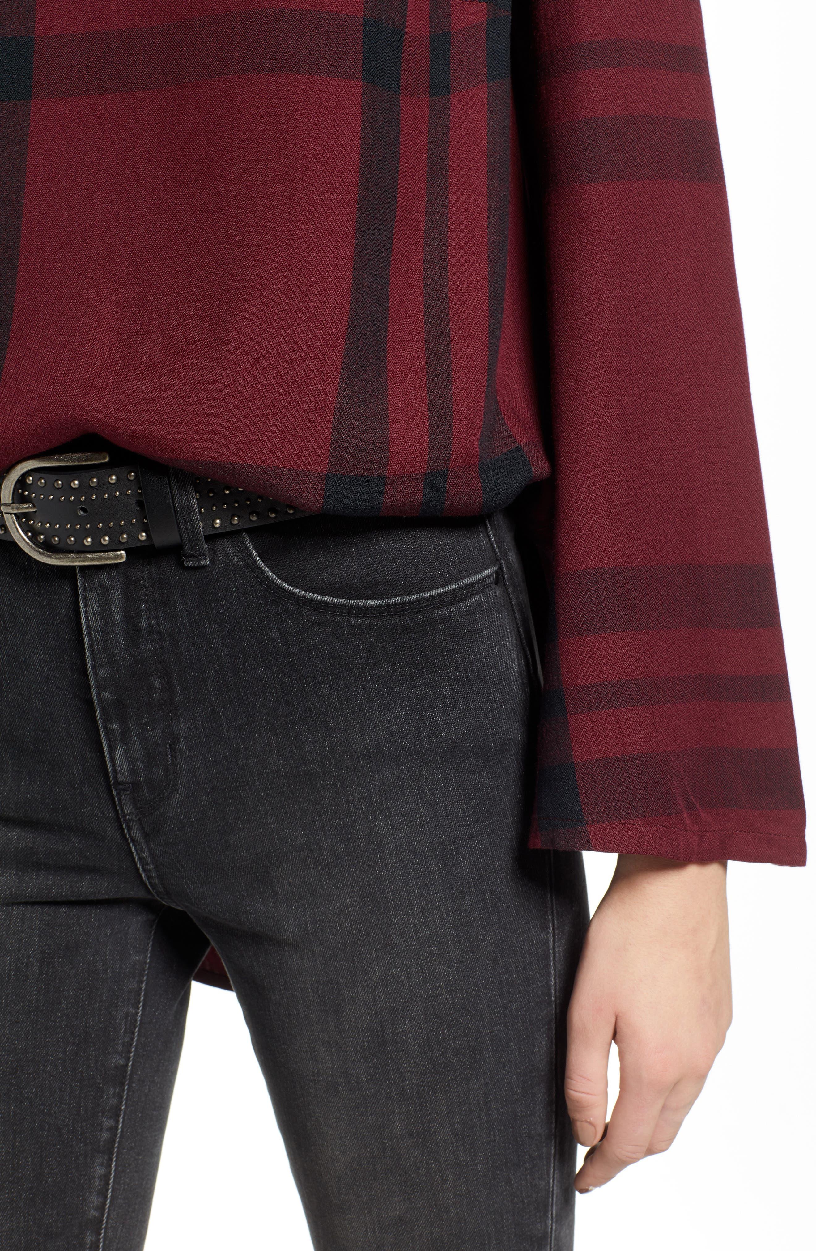 Bell Sleeve Shirt,                             Alternate thumbnail 4, color,                             RED TANNIN BULLSEYE PLAID