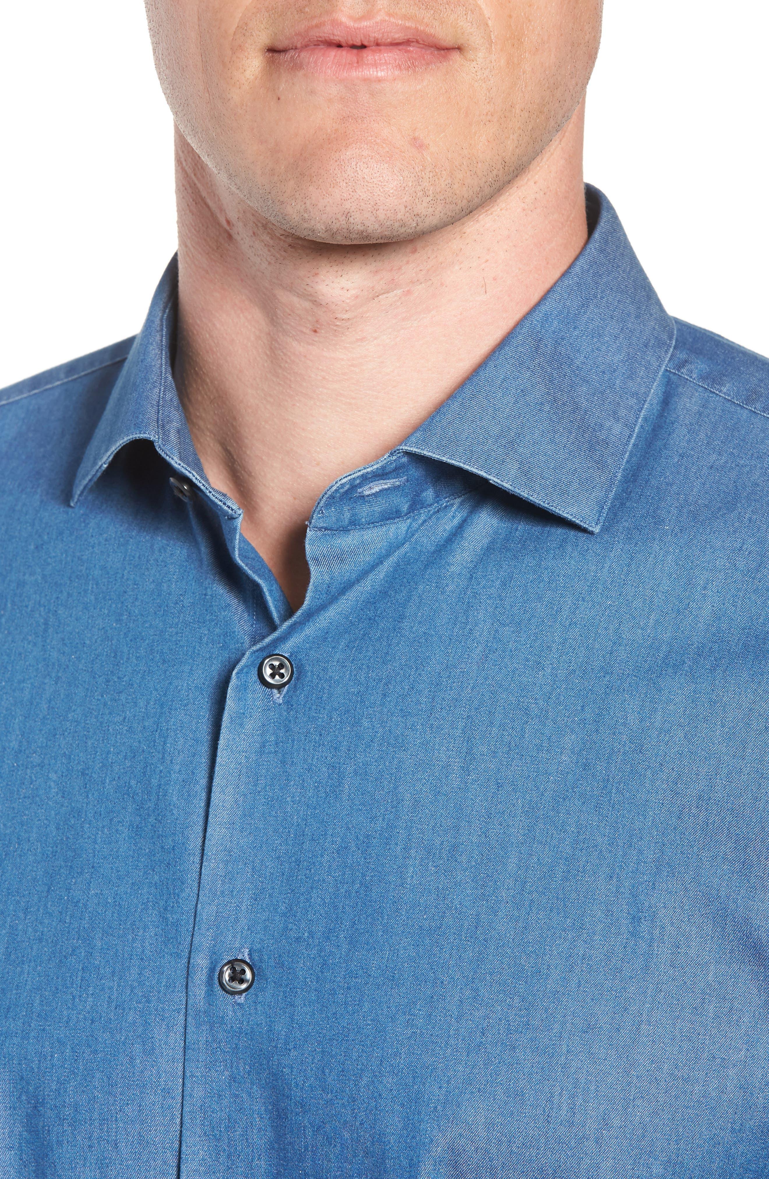 Trim Fit Solid Denim Dress Shirt,                             Alternate thumbnail 2, color,                             BLUE DENIM