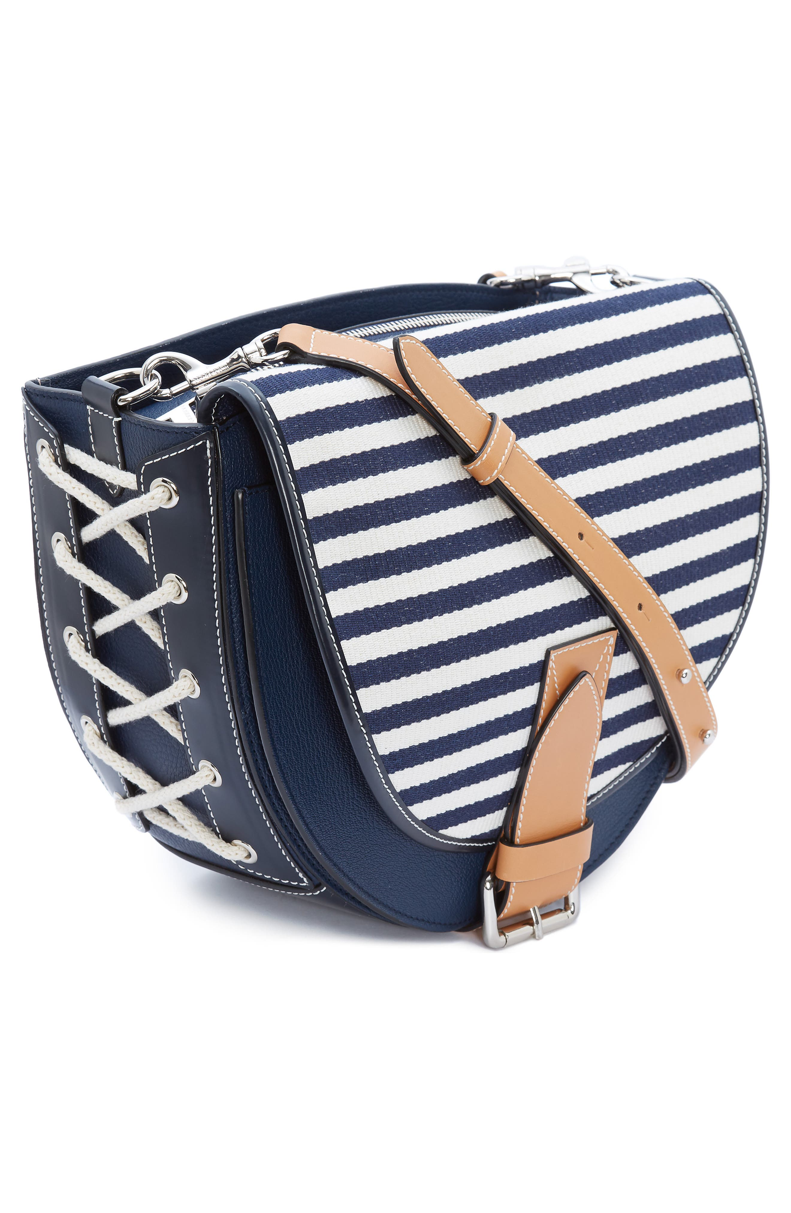 JW ANDERSON,                             Small Bike Leather & Canvas Crossbody Bag,                             Alternate thumbnail 5, color,                             NAVY BRETON