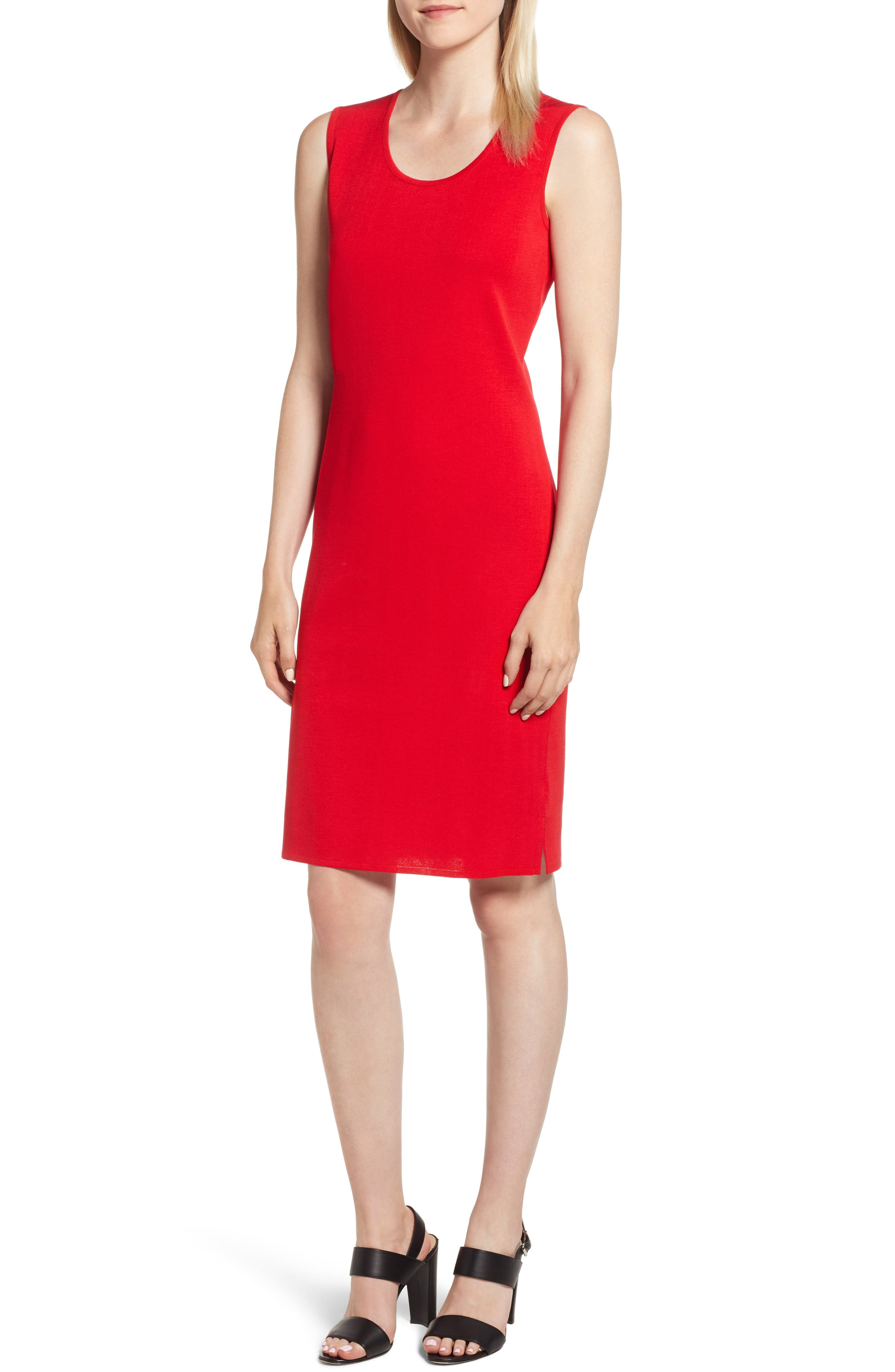Ming Wang Knit Sheath Dress, Red