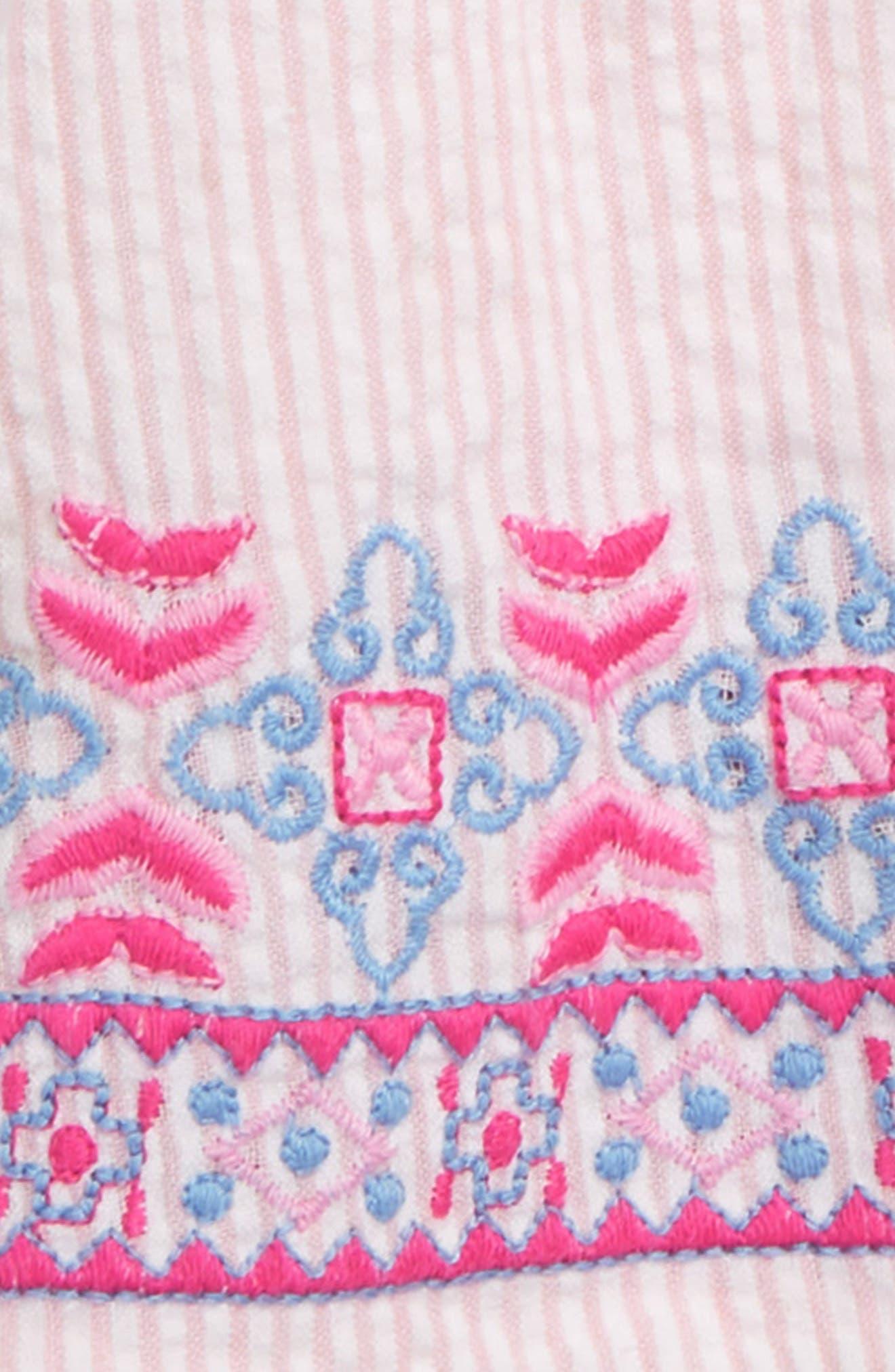 Embroidered Seersucker Swing Dress,                             Alternate thumbnail 2, color,                             686