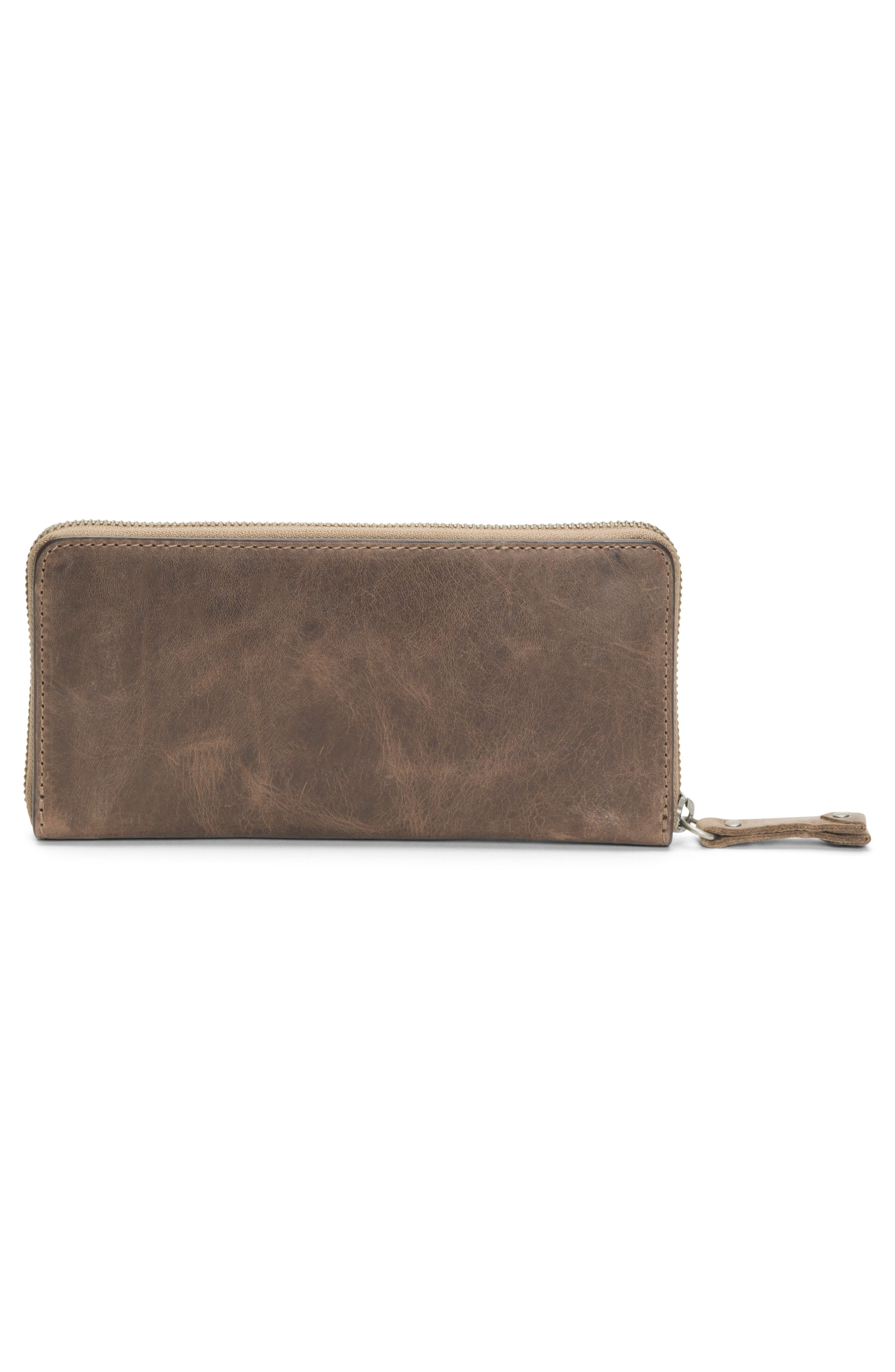 Melissa 2 Leather Zip Wallet,                             Alternate thumbnail 3, color,                             GREY