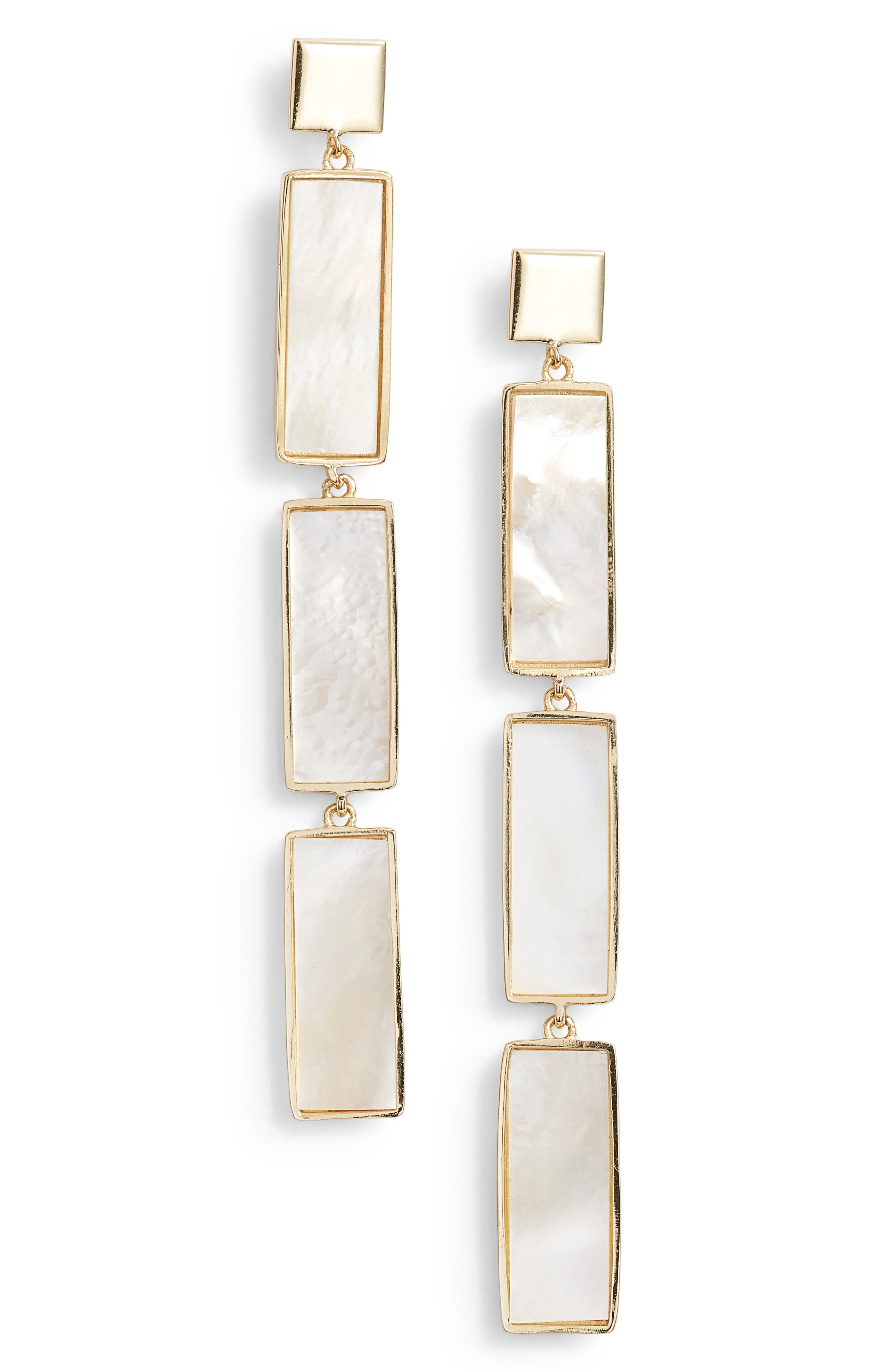 ARGENTO VIVO Geometric Mother-Of-Pearl Linear Drop Earrings In 18K Gold-Plated Sterling Silver in Mother Of Pearl/ Gold