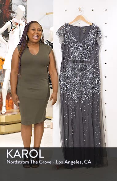 Beaded V-Neck Gown, sales video thumbnail
