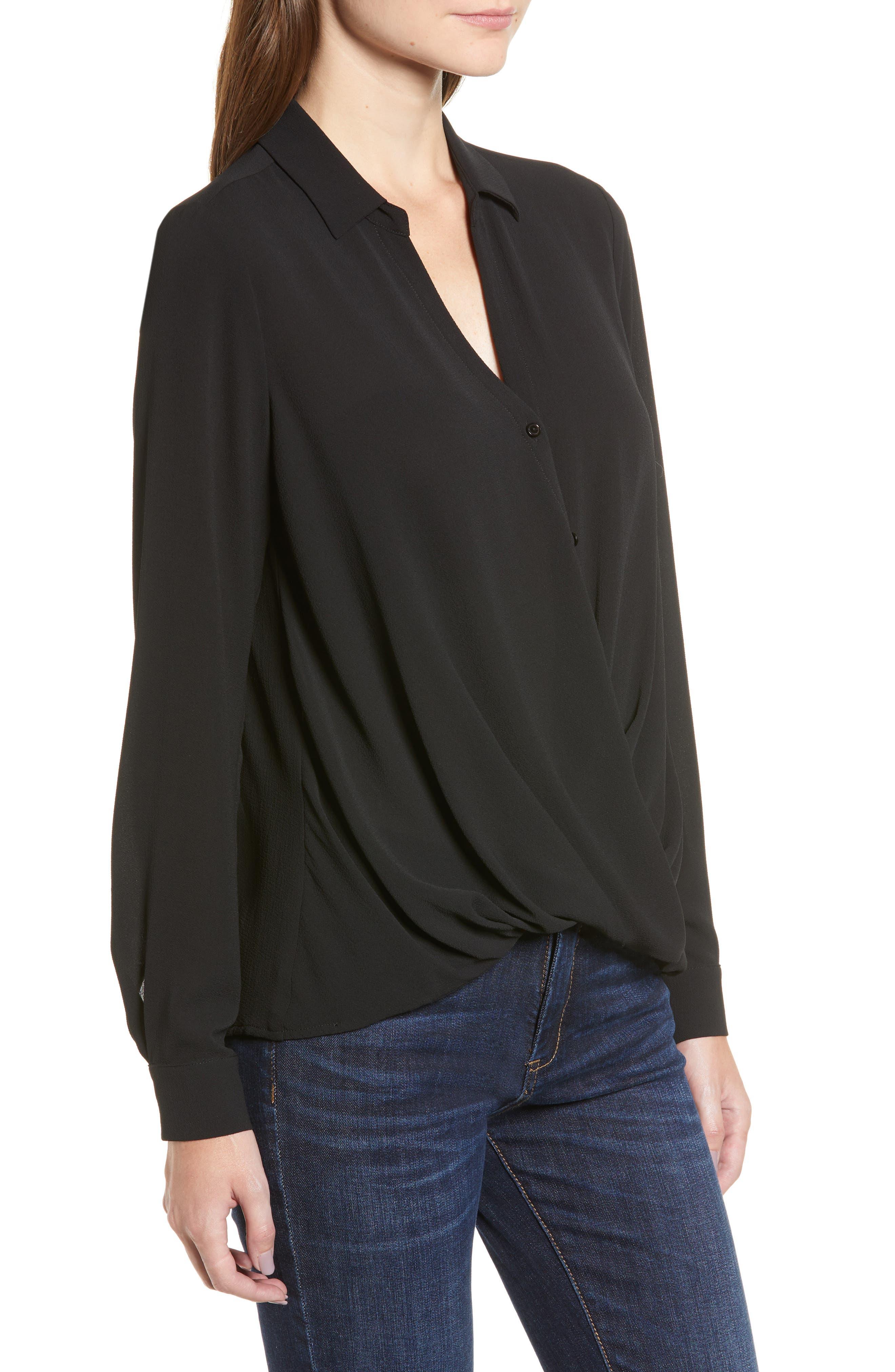Patterned Drape Front Blouse,                             Alternate thumbnail 3, color,                             BLACK