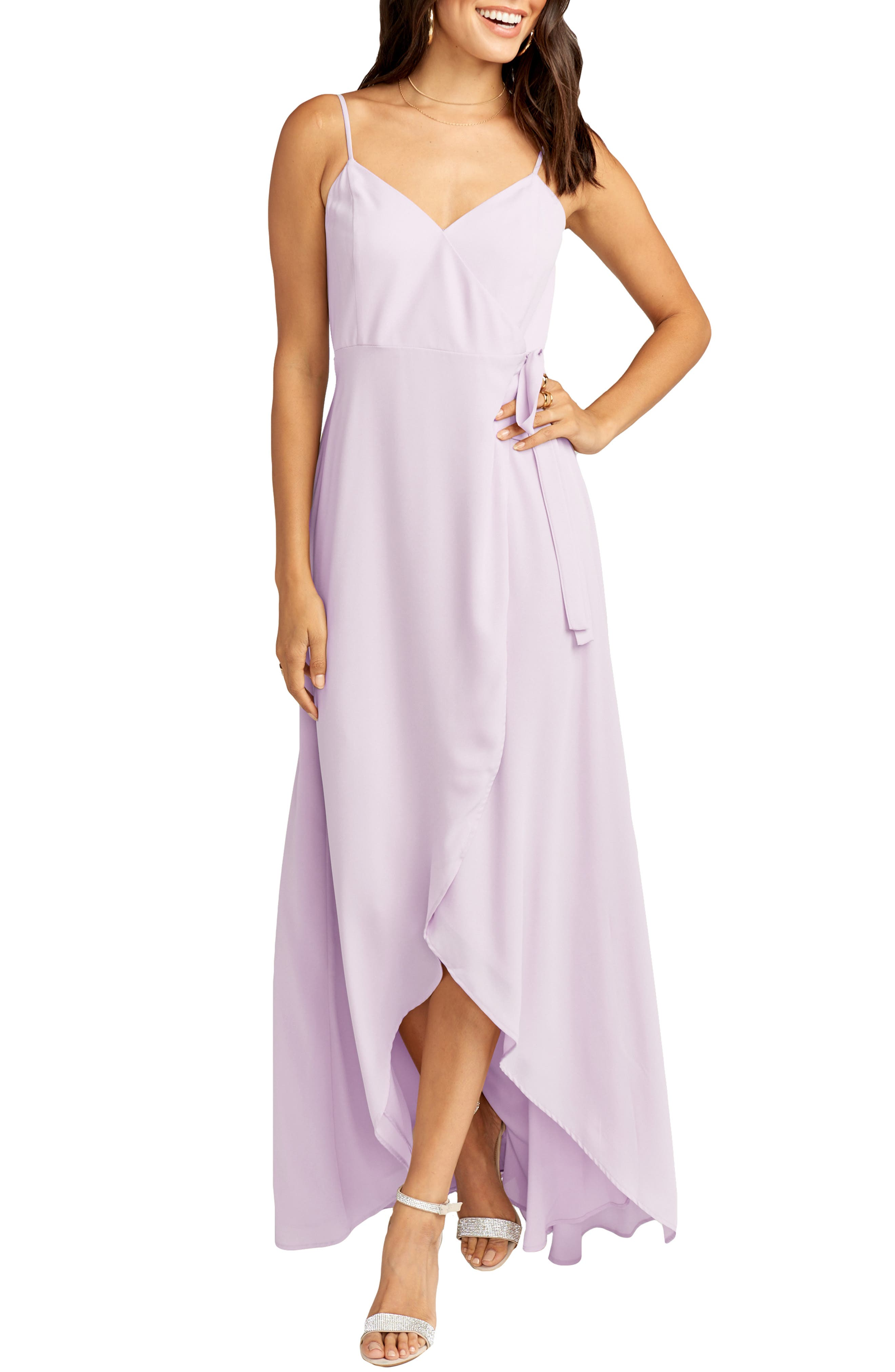 SHOW ME YOUR MUMU Mariah Wrap Maxi Dress, Main, color, VIOLET CHIFFON