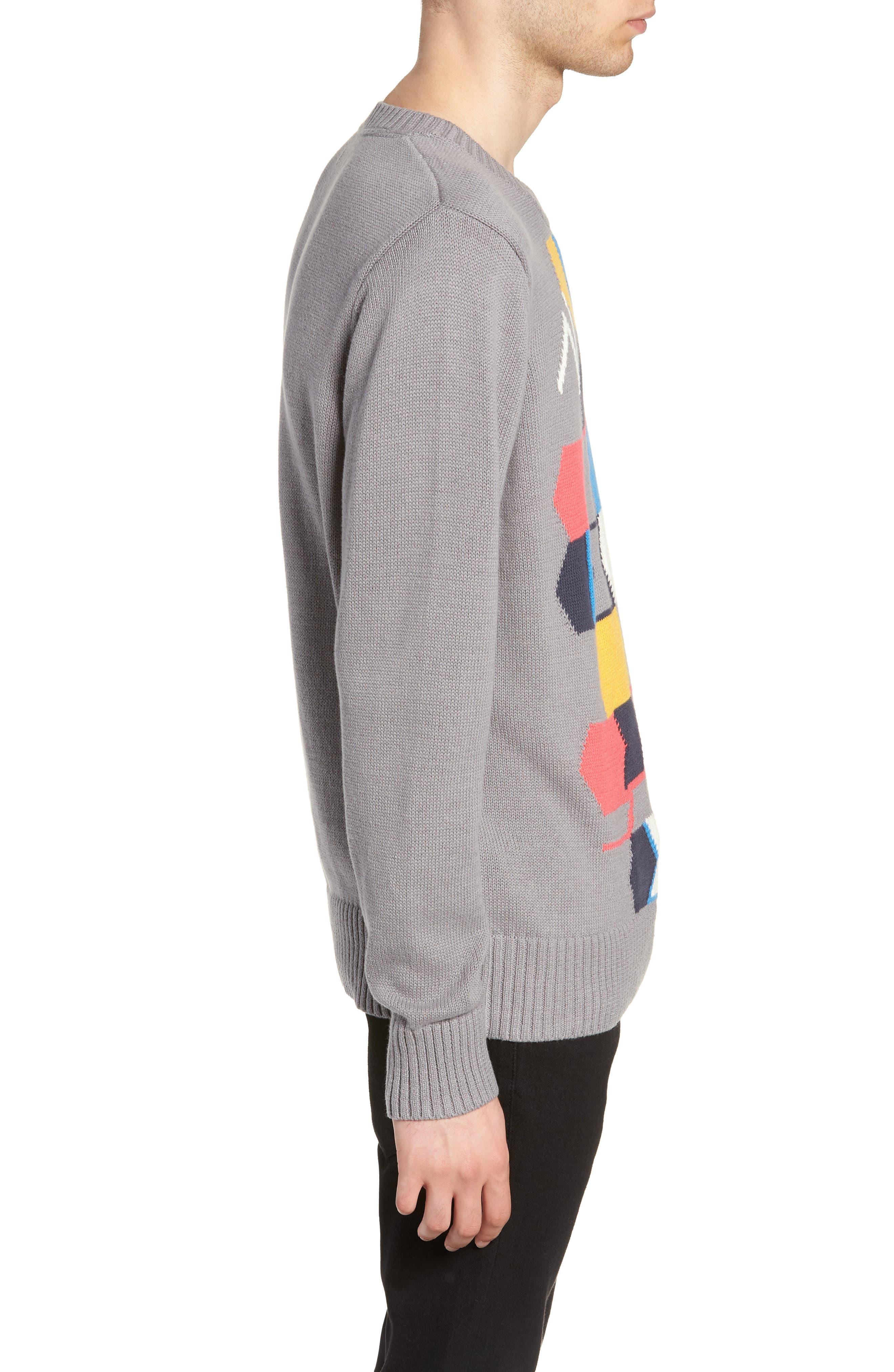 Geo Pattern Sweater,                             Alternate thumbnail 3, color,                             GREY MULTI GEO BLOCK