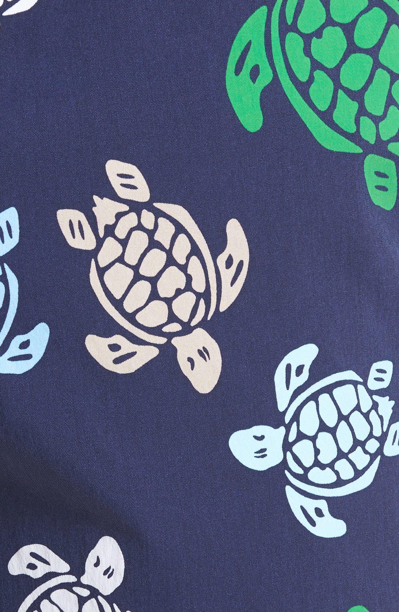 Moorise Turtle Swim Trunks,                             Alternate thumbnail 5, color,                             NAVY BLUE