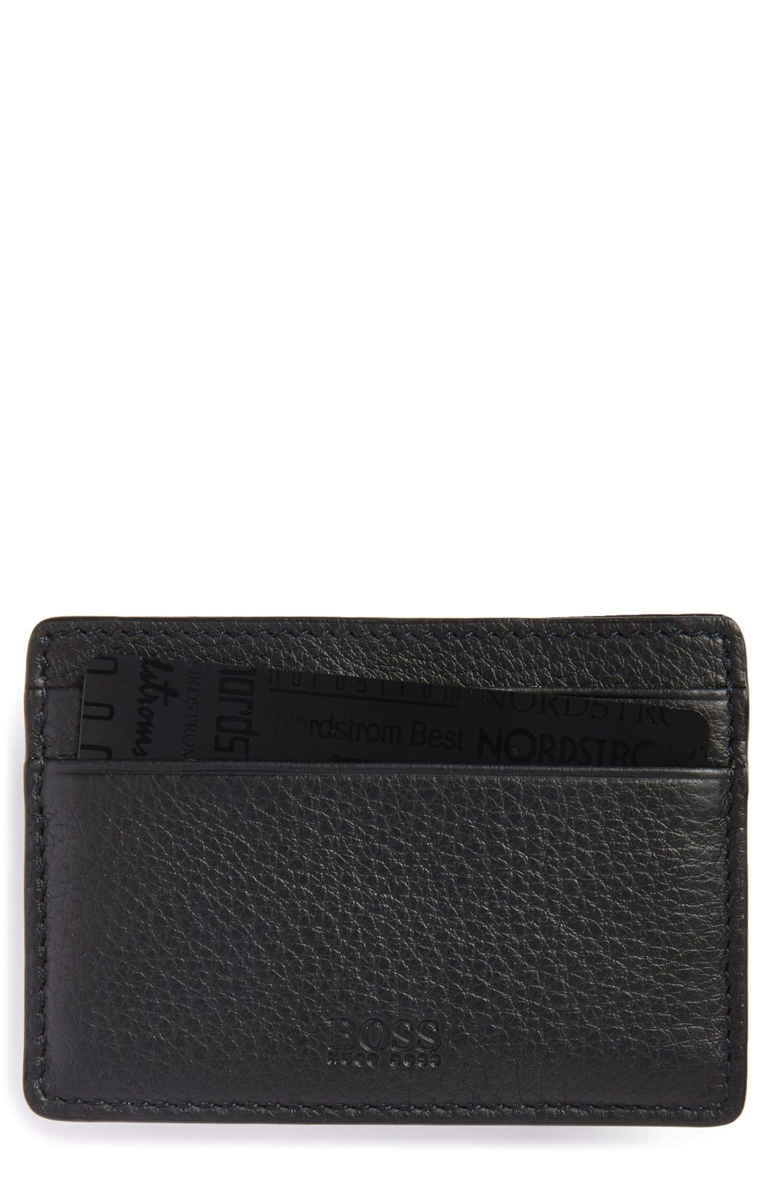 Traveler Card Case,                             Main thumbnail 1, color,                             BLACK