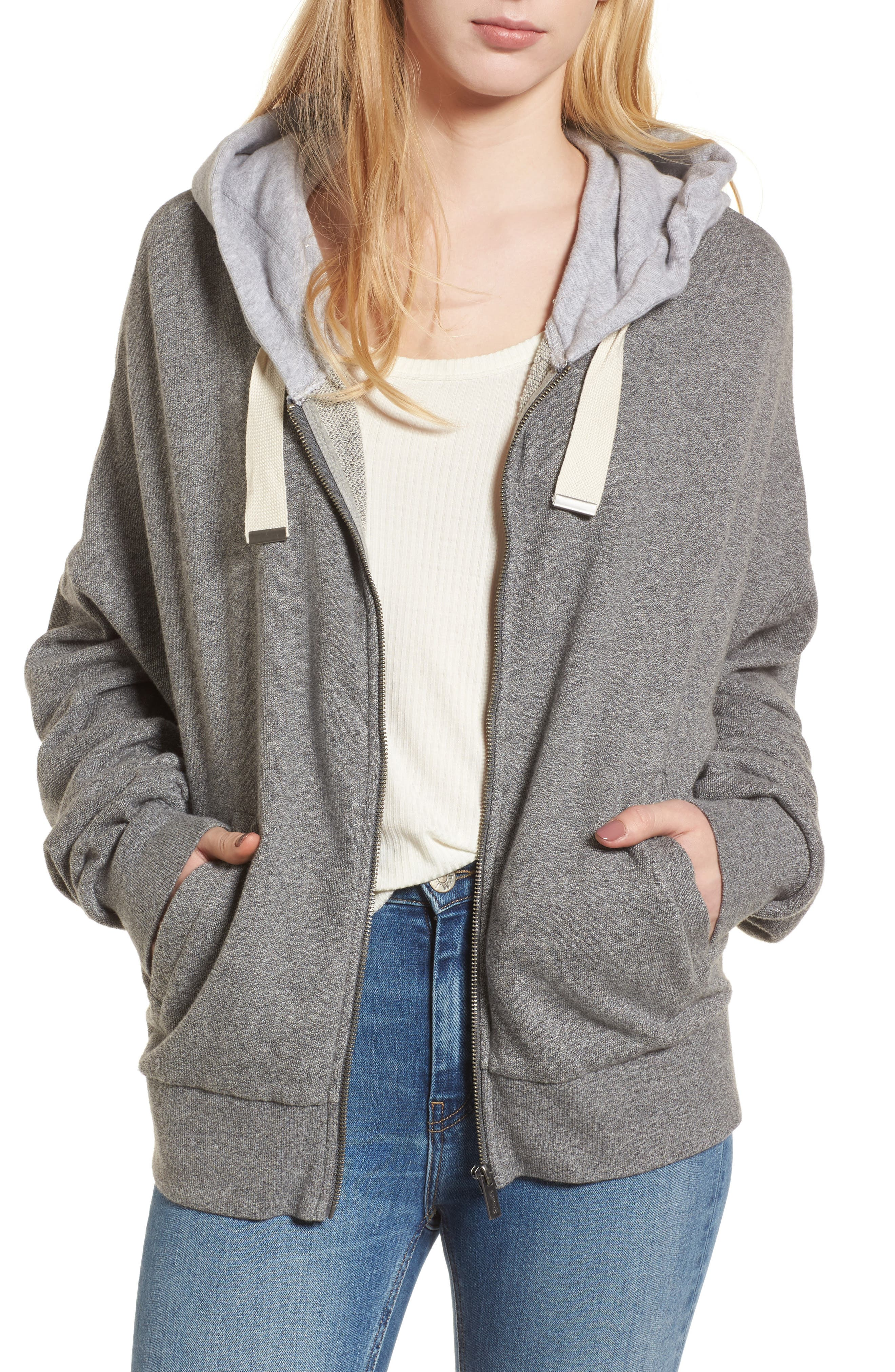 Ruched Sleeve Hoodie,                             Main thumbnail 1, color,                             HEATHER GREY