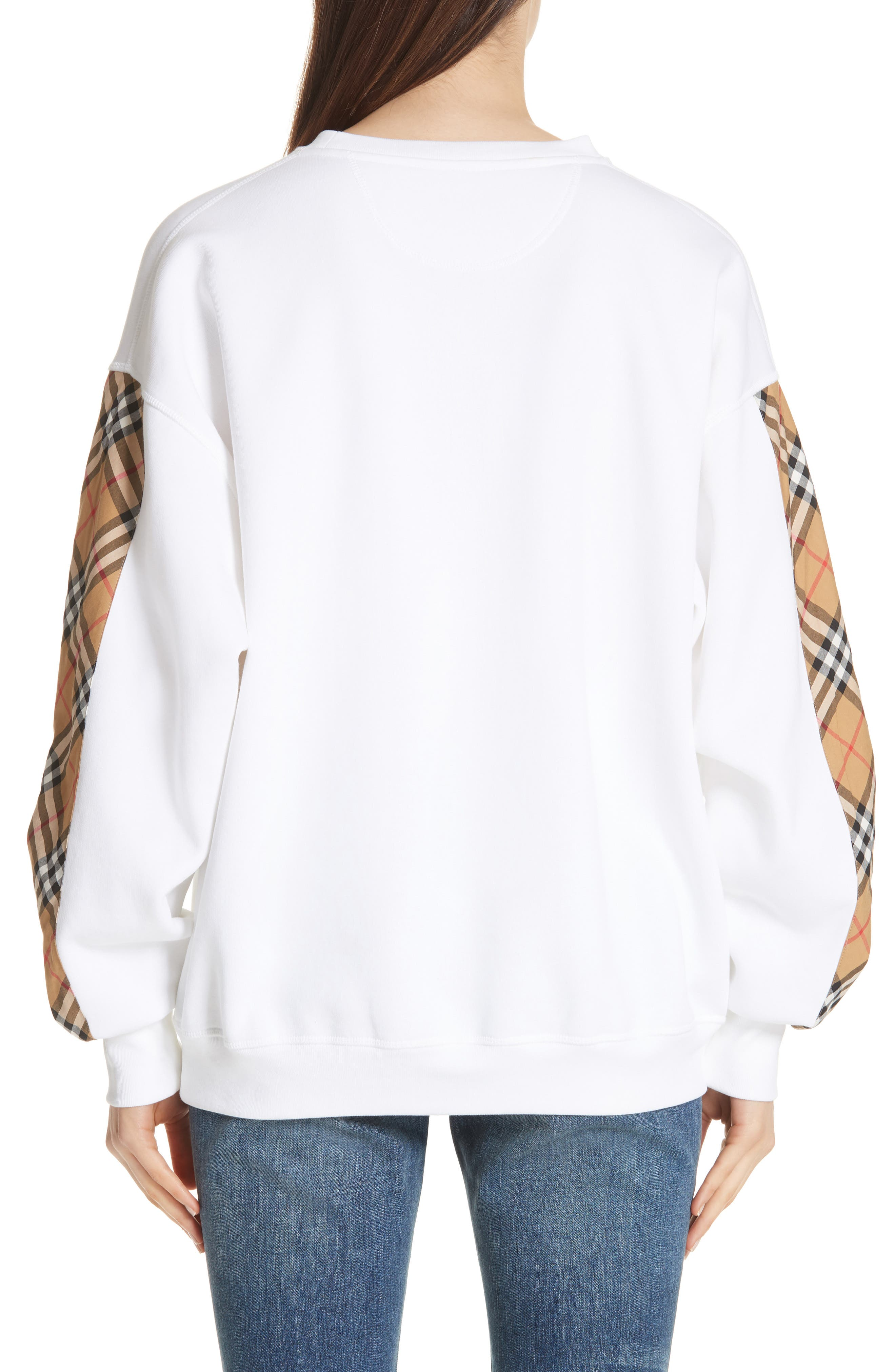 Bronx Check Sleeve Sweatshirt,                             Alternate thumbnail 2, color,                             WHITE