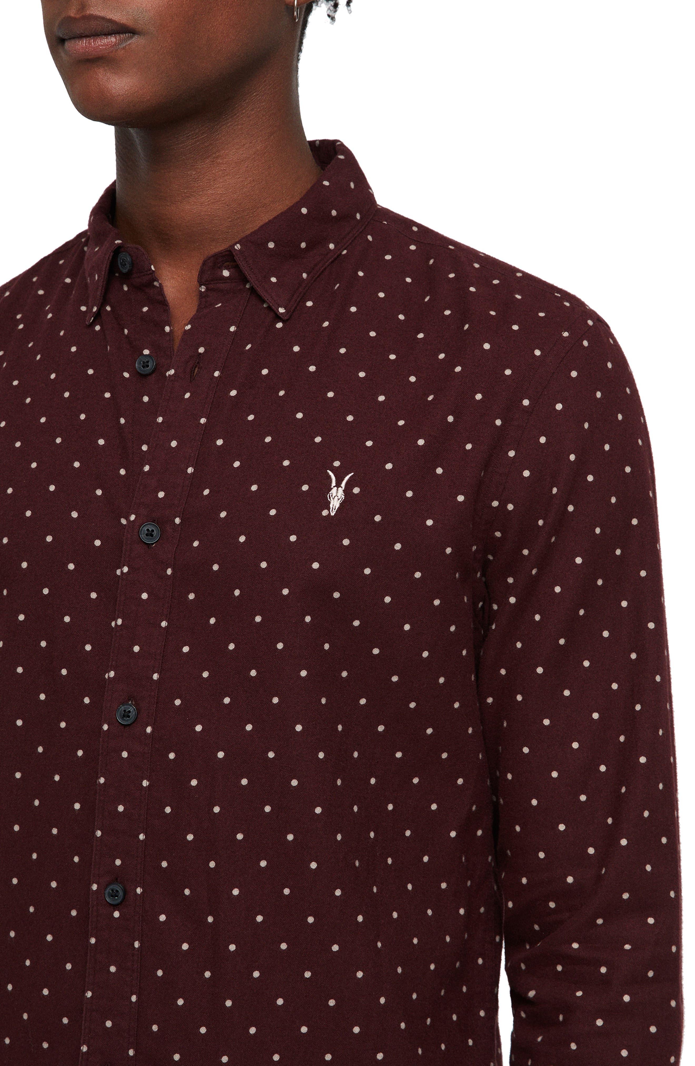 Bethel Slim Fit Dot Flannel Shirt,                             Alternate thumbnail 2, color,                             DARK RUST/ ECRU