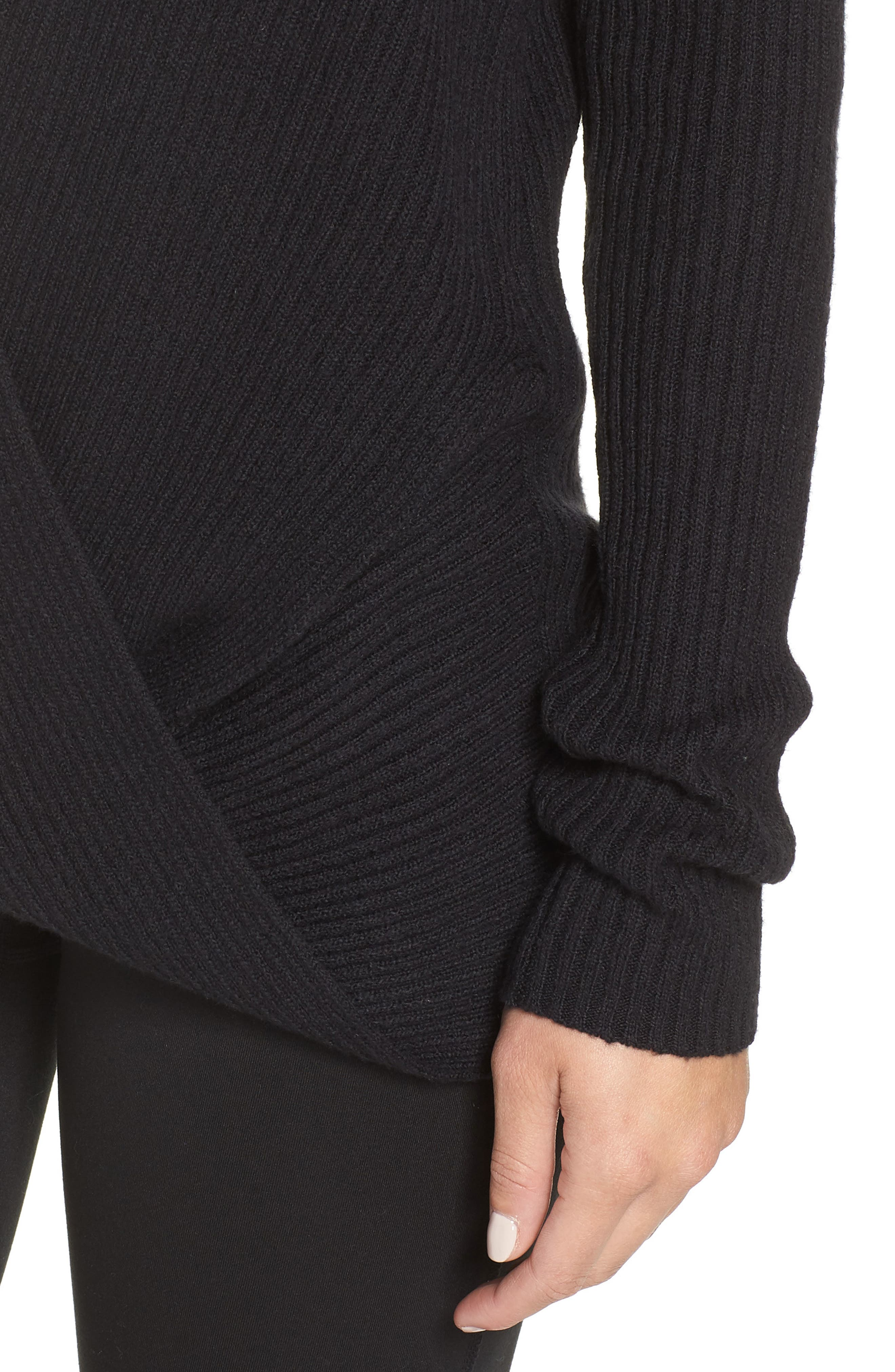 ZELLA,                             Wrap Sweater,                             Alternate thumbnail 5, color,                             001