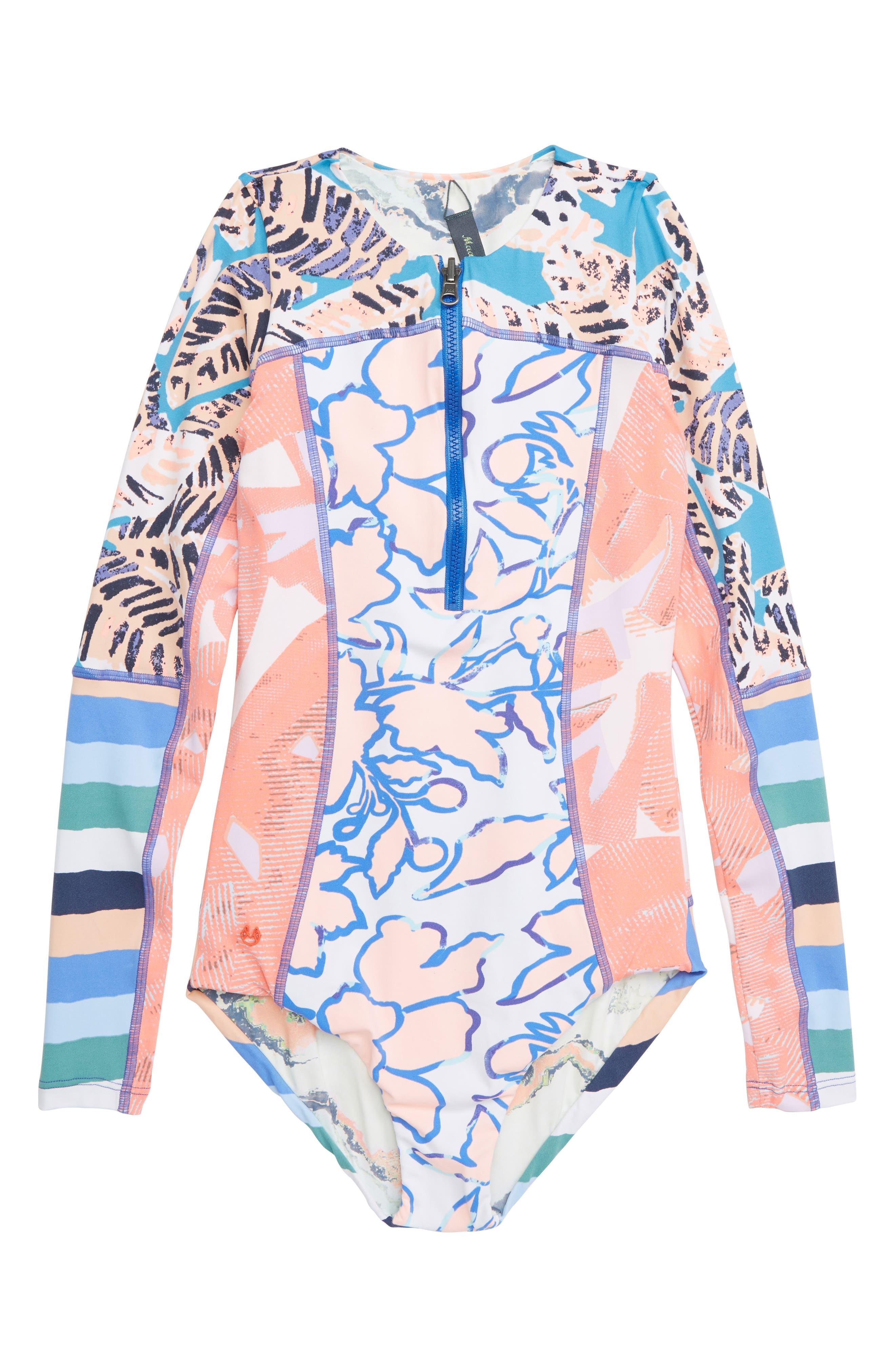 Ocean Joiness Reversible One-Piece Rashguard Swimsuit,                             Main thumbnail 1, color,                             MULTICOLOR