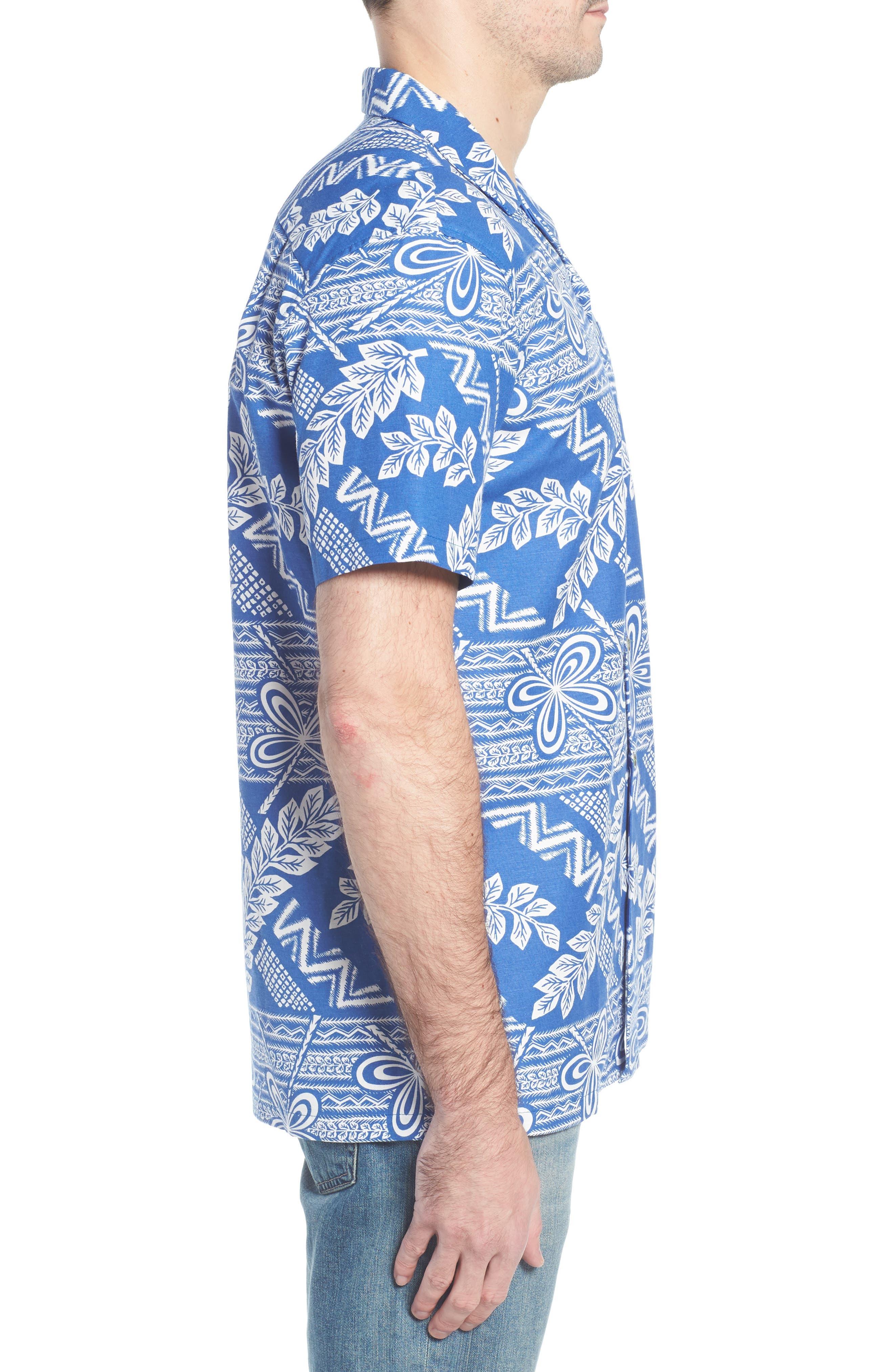 Makana Trim Fit Print Sport Shirt,                             Alternate thumbnail 3, color,                             459