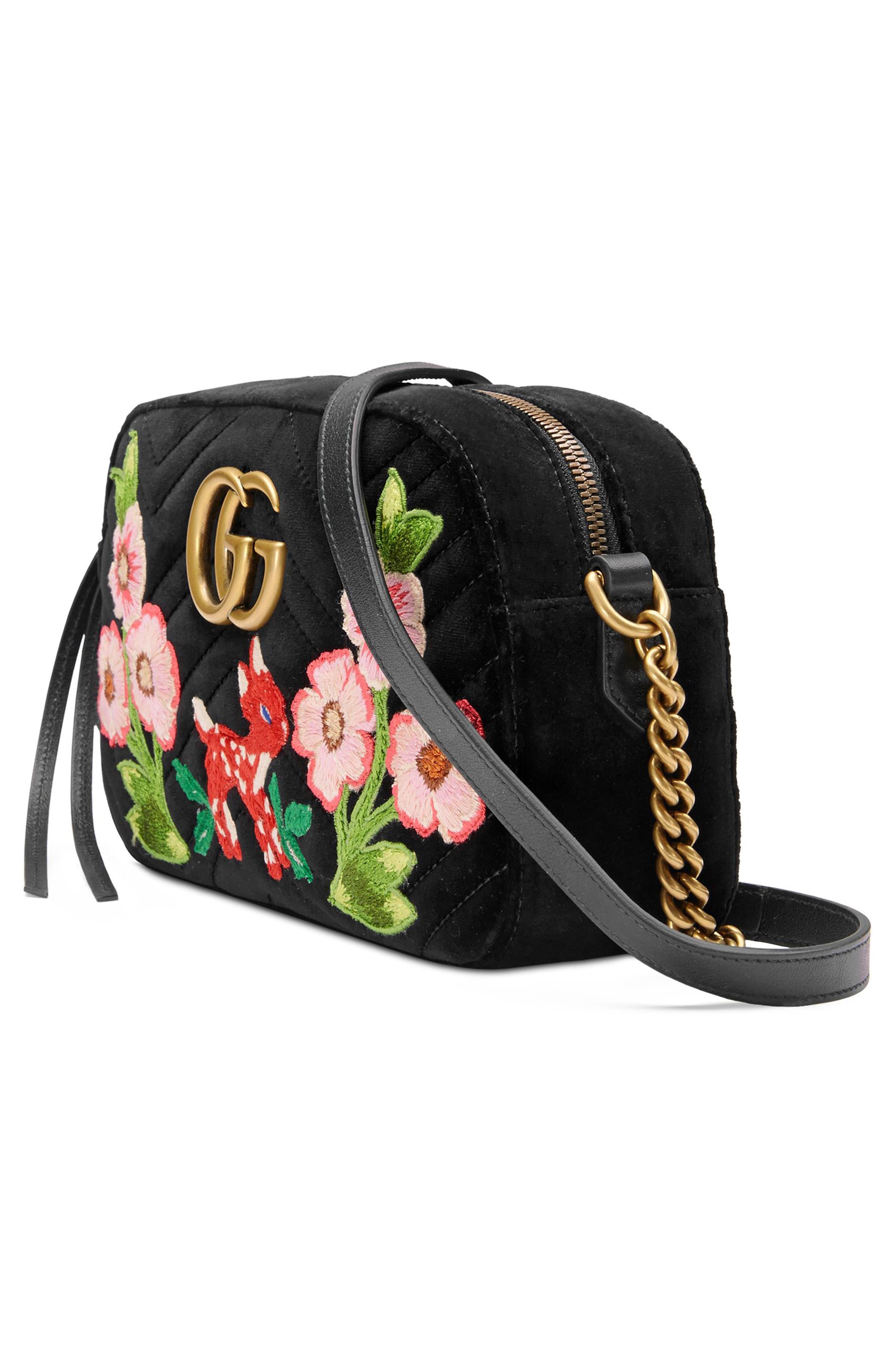Small GG Marmont 2.0 Matelassé Velvet Shoulder Bag,                             Alternate thumbnail 4, color,                             001