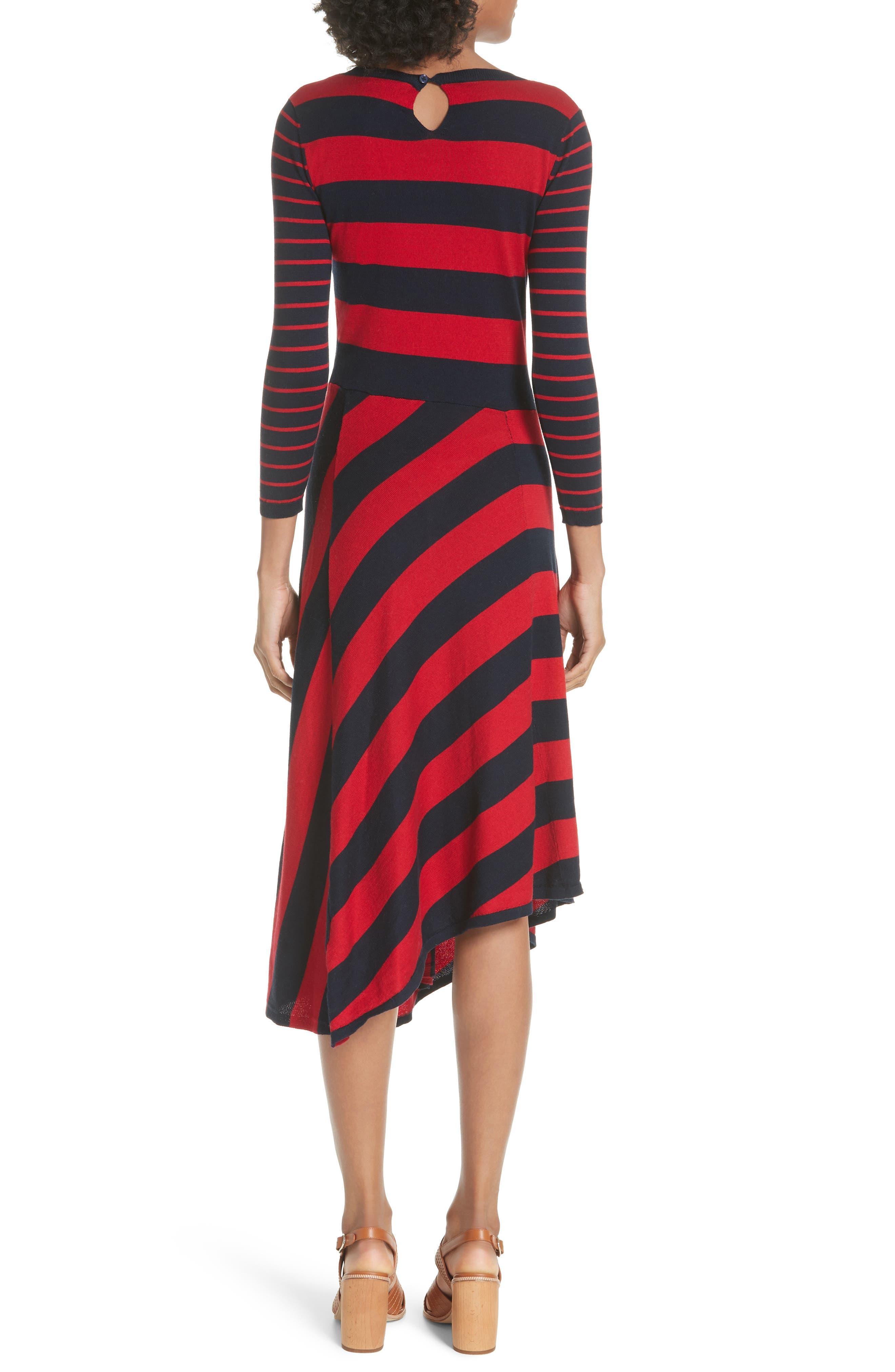 Ecedra Asymmetrical Stripe Faux Wrap Dress,                             Alternate thumbnail 2, color,                             MIDNIGHT CHERRY