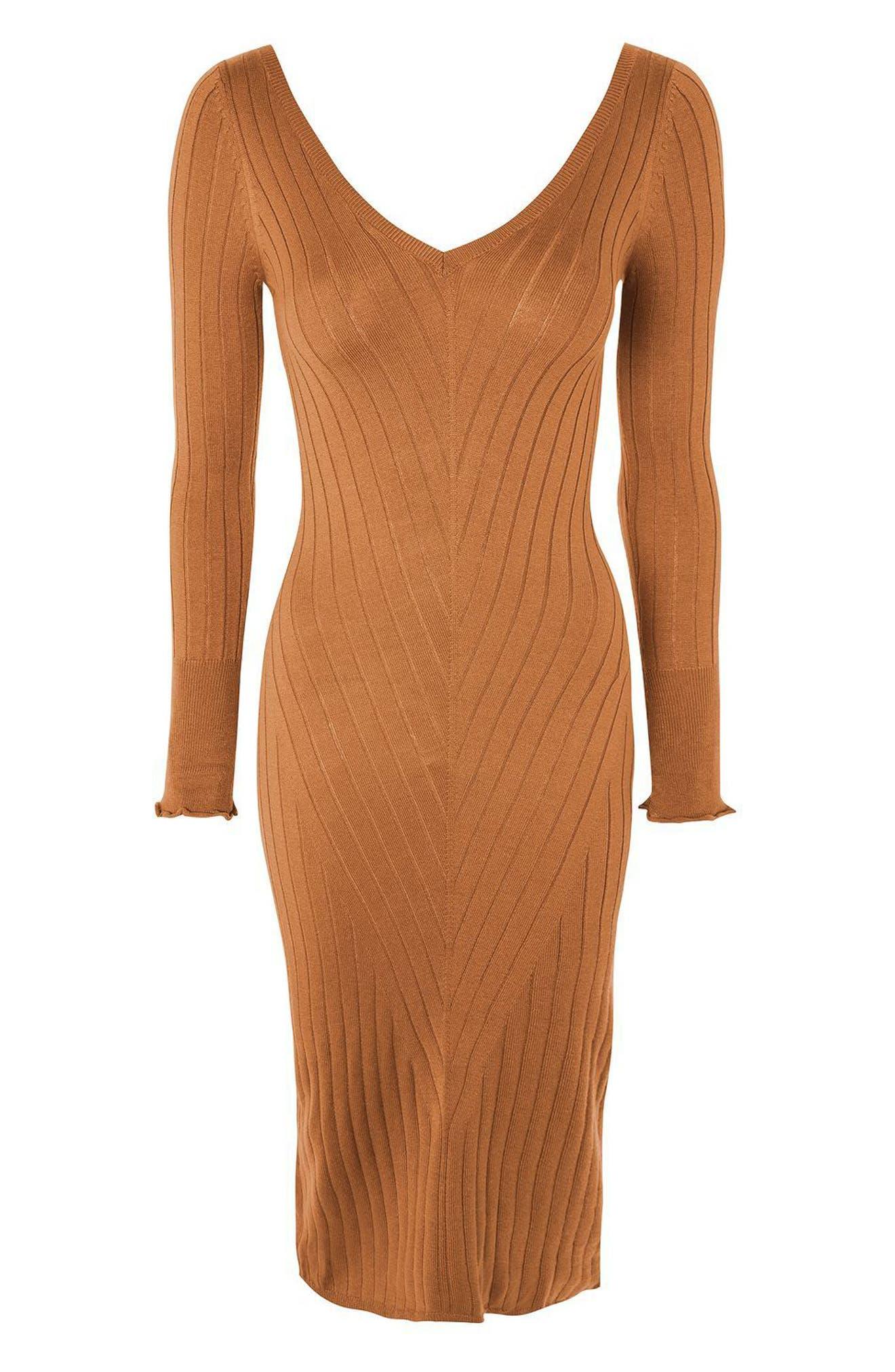 Double V-Neck Ribbed Midi Dress,                             Alternate thumbnail 4, color,                             252