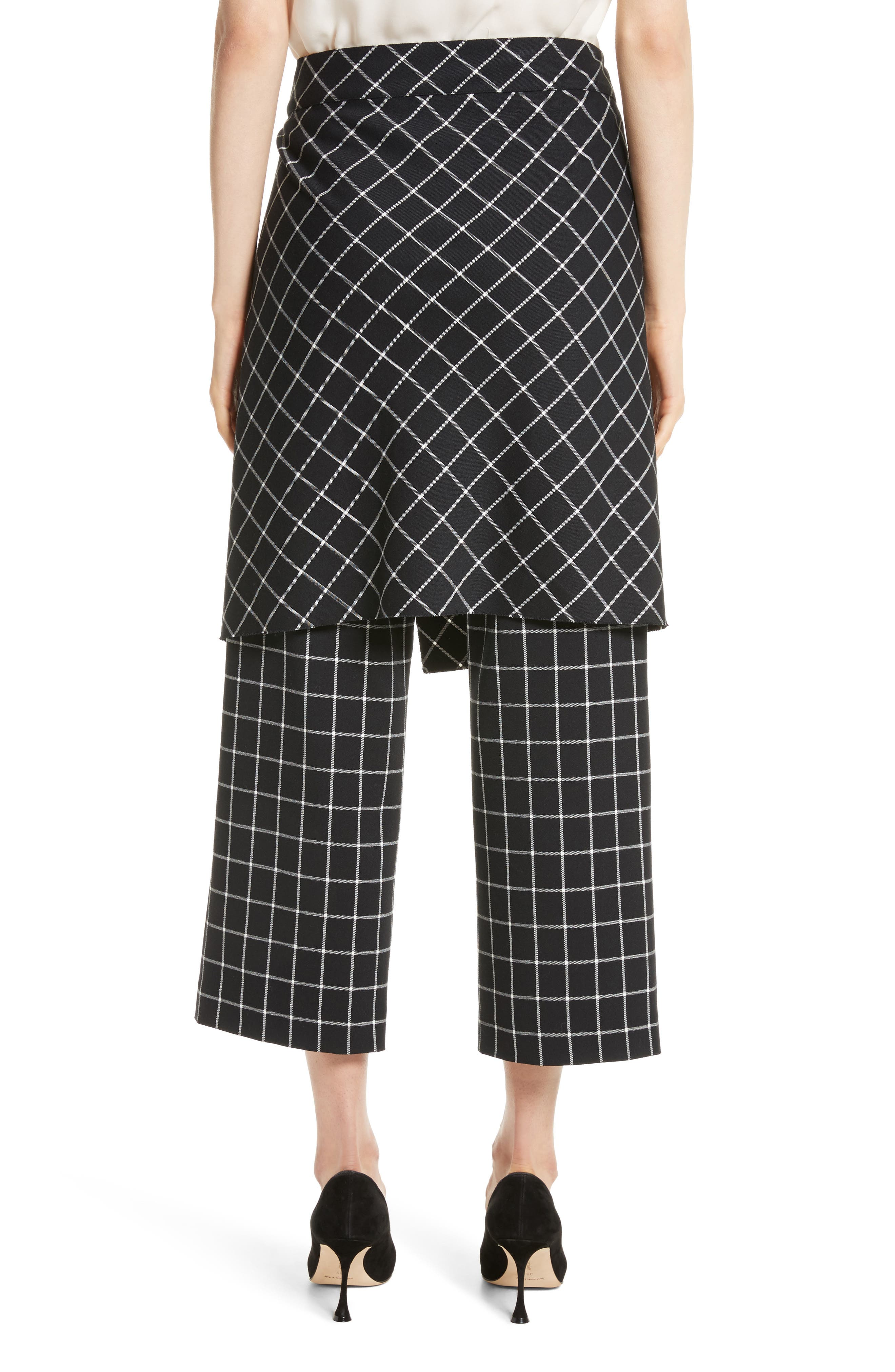 Grid Print Skirted Pants,                             Alternate thumbnail 2, color,