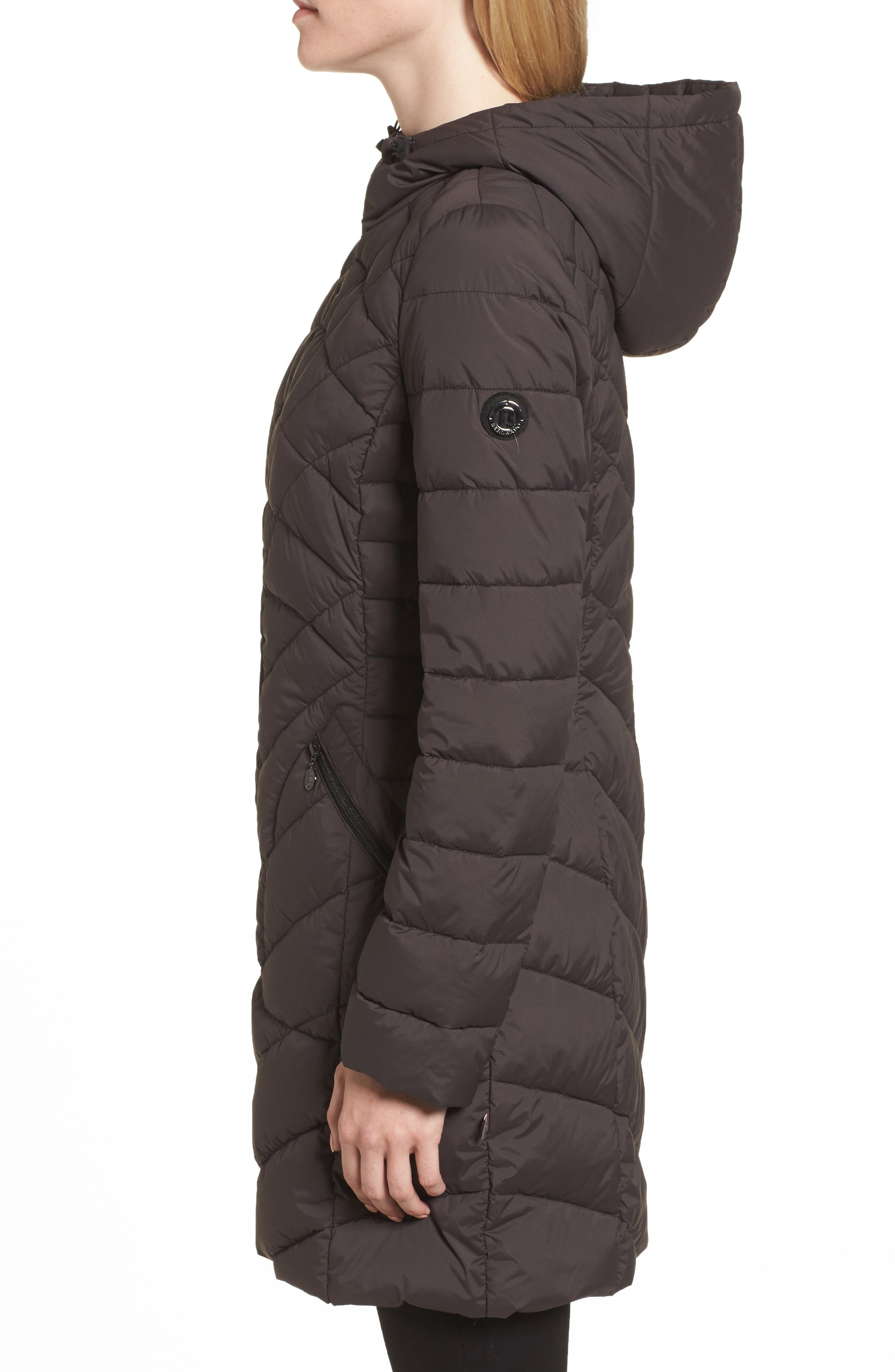 Packable Hooded Down & PrimaLoft<sup>®</sup> Walker Jacket,                             Alternate thumbnail 3, color,                             001