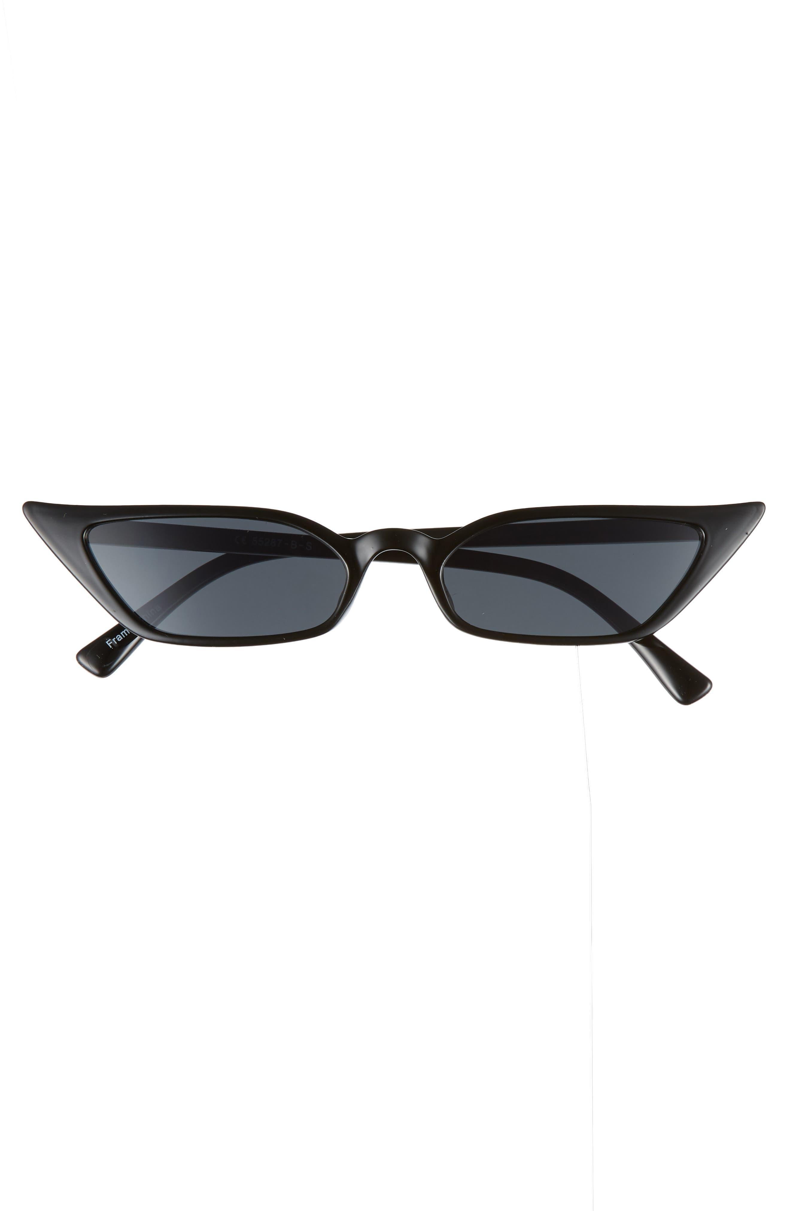52mm Cat Eye Sunglasses,                             Alternate thumbnail 3, color,                             BLACK/ SMOKE LENS