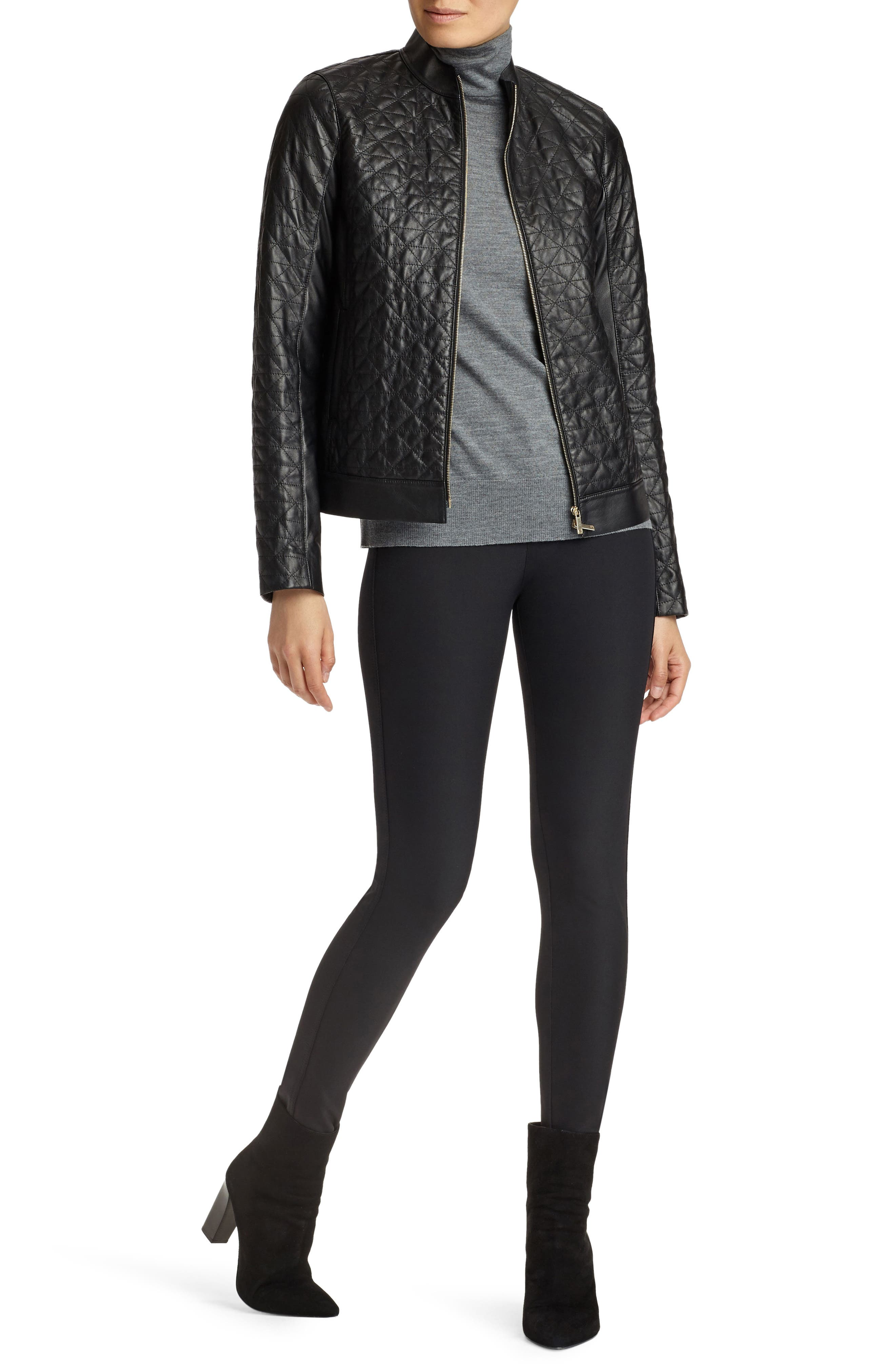 Becks Quilted Lambskin Leather Moto Jacket,                             Alternate thumbnail 5, color,                             001