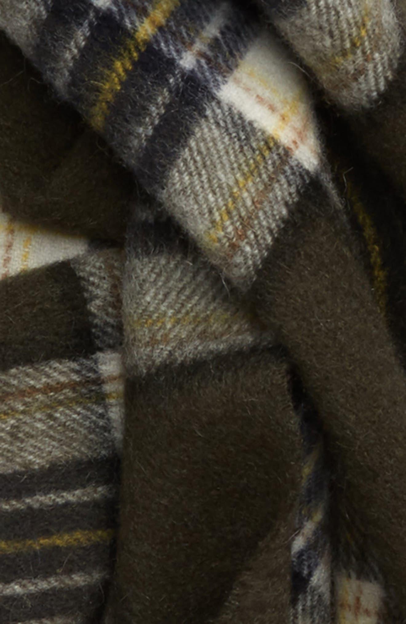 Olive Plaid Cashmere Scarf,                             Alternate thumbnail 3, color,                             300