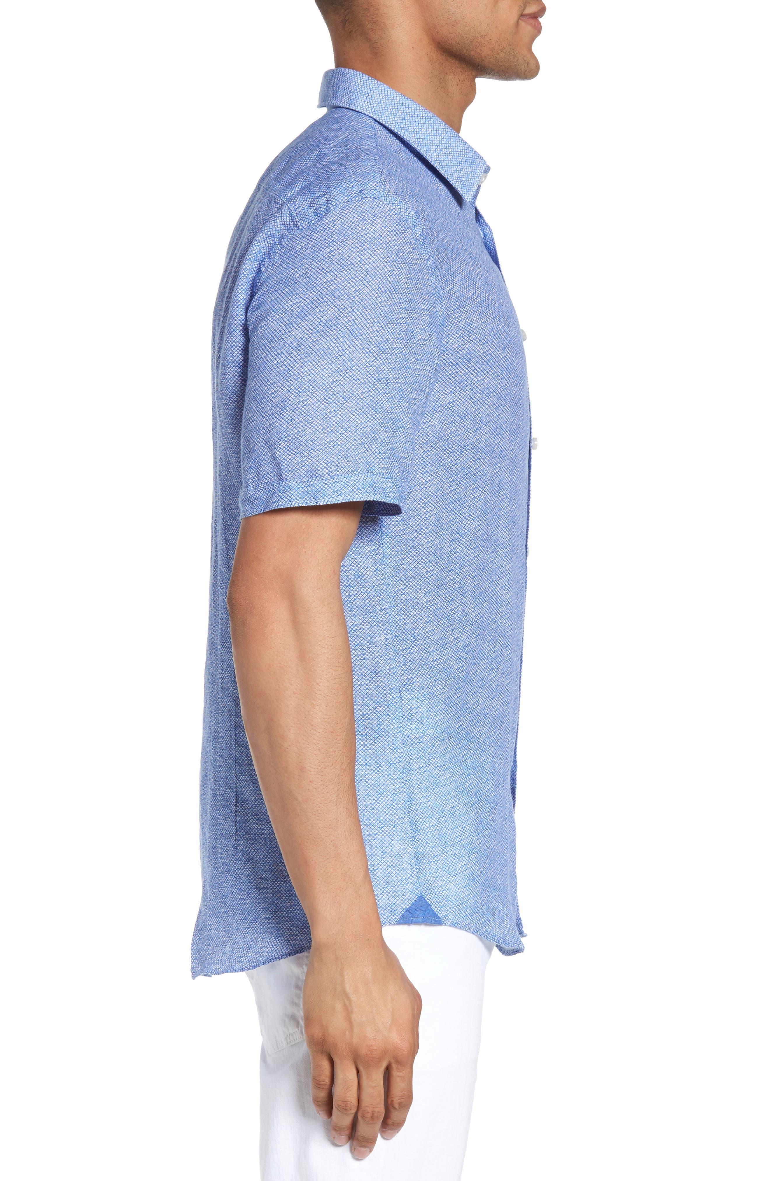 Ronn Extra Slim Fit Print Linen Sport Shirt,                             Alternate thumbnail 3, color,                             421
