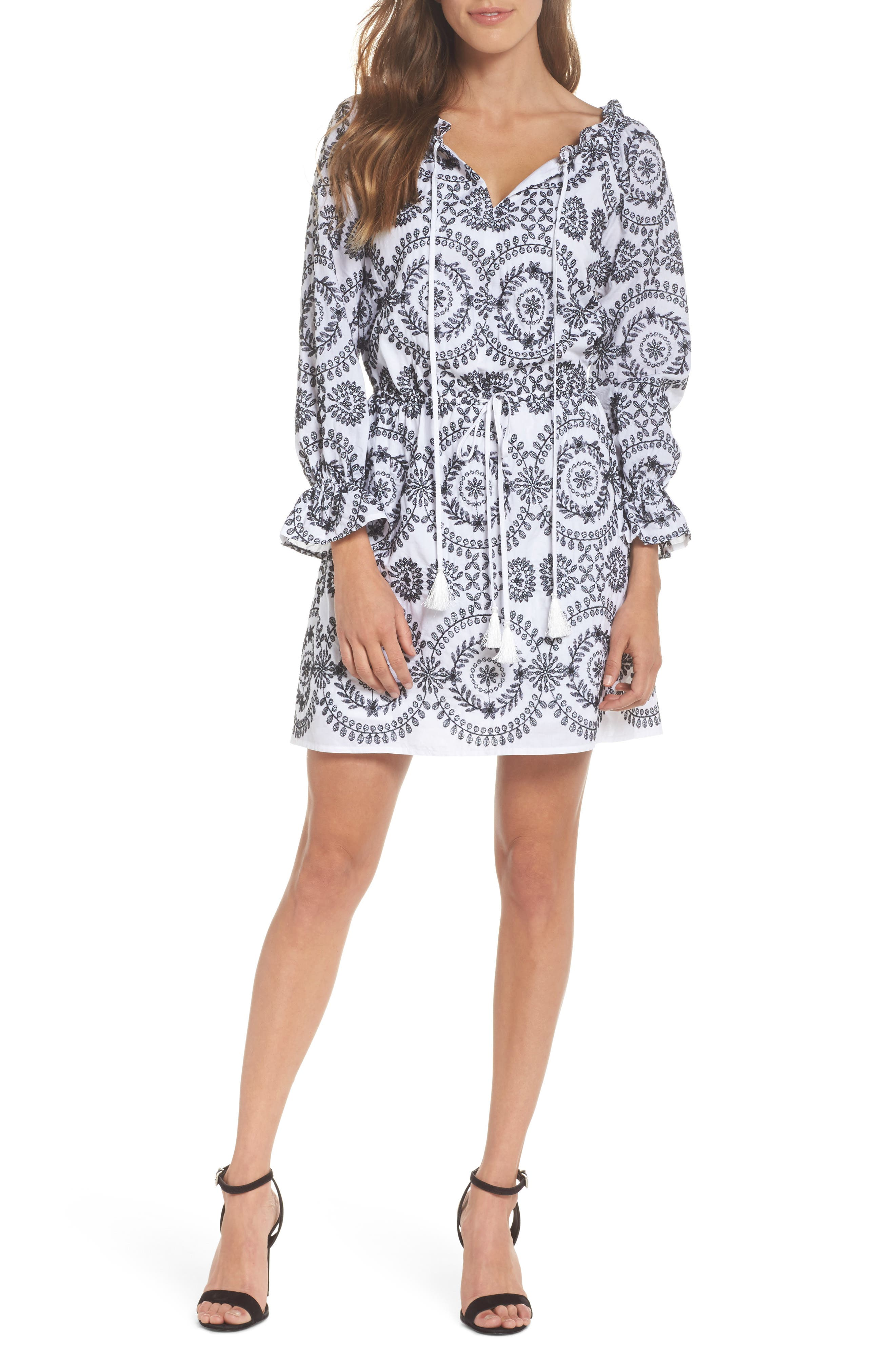 Embroidered Tile Pattern Dress,                             Main thumbnail 1, color,