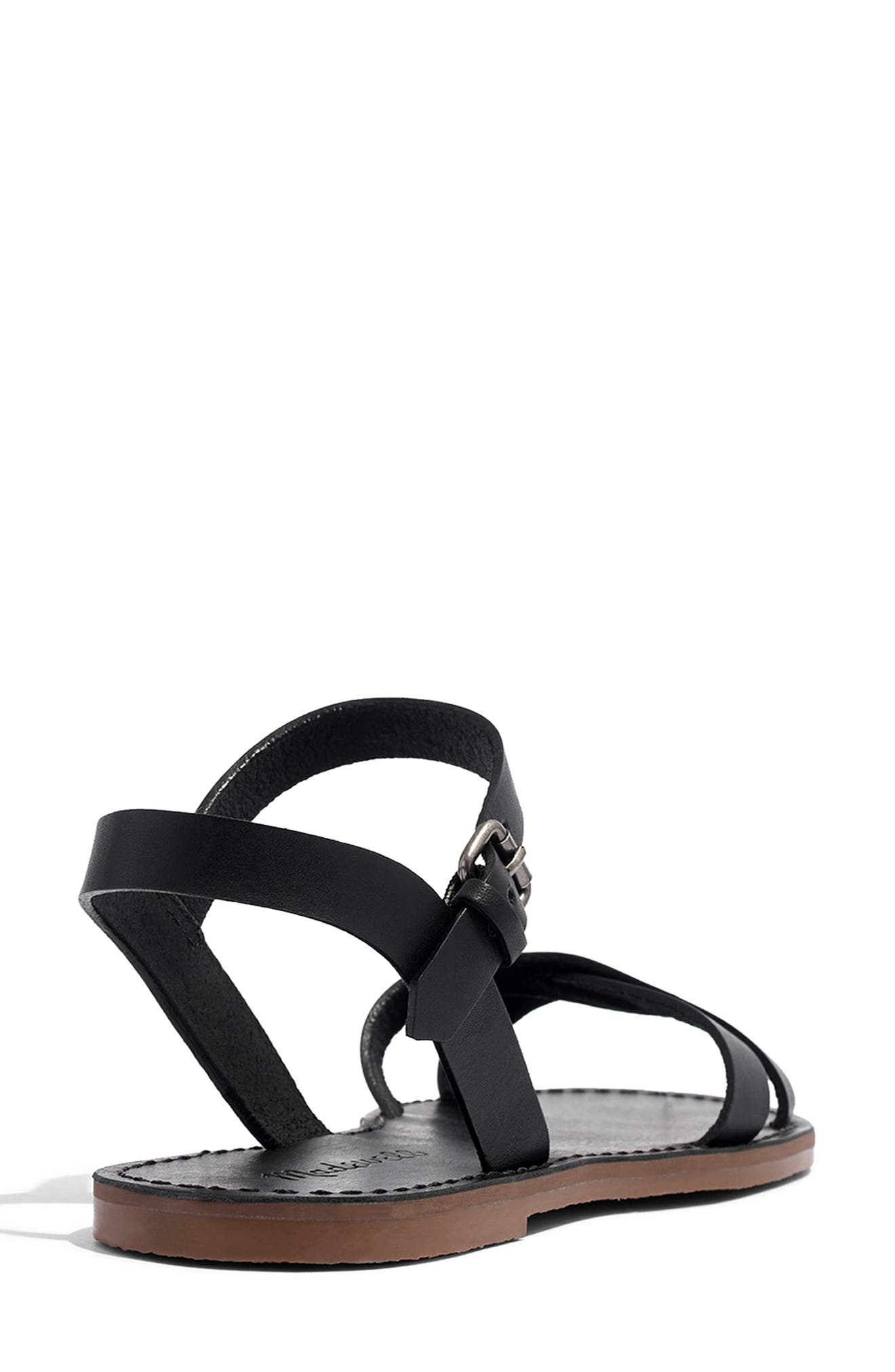 Boardwalk Quarter Strap Sandal,                             Alternate thumbnail 8, color,                             TRUE BLACK LEATHER