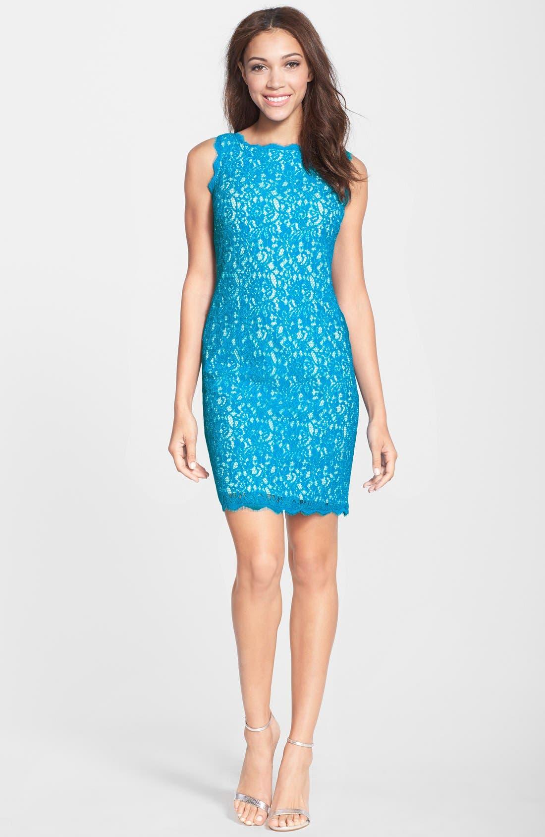 Boatneck Lace Sheath Dress,                             Alternate thumbnail 110, color,