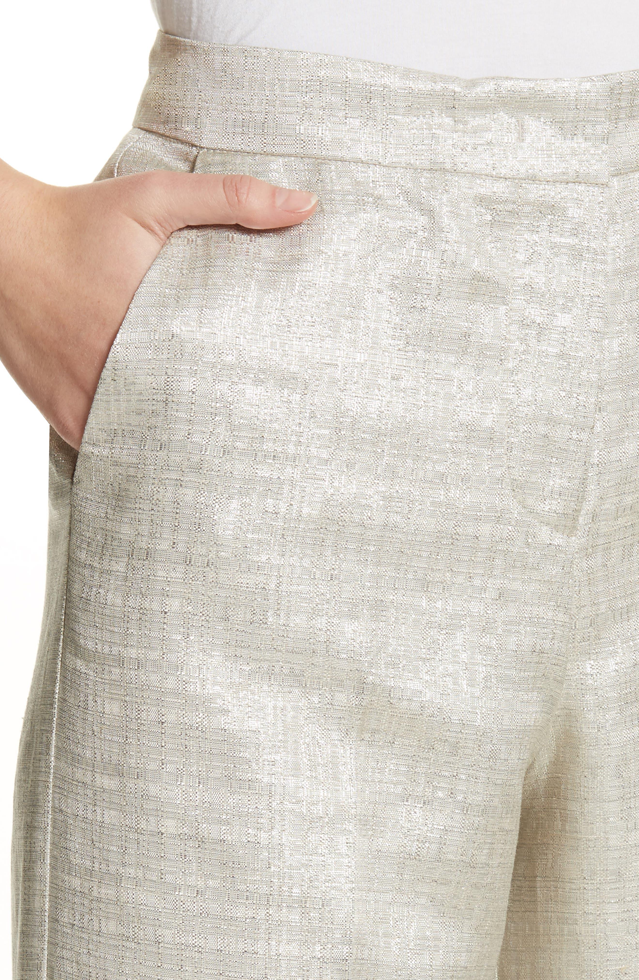 Metallic Wide Leg Pants,                             Alternate thumbnail 4, color,                             041