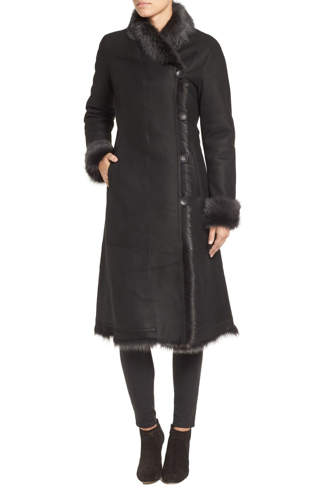 River 43 Genuine Toscana Shearling Coat,                             Alternate thumbnail 4, color,