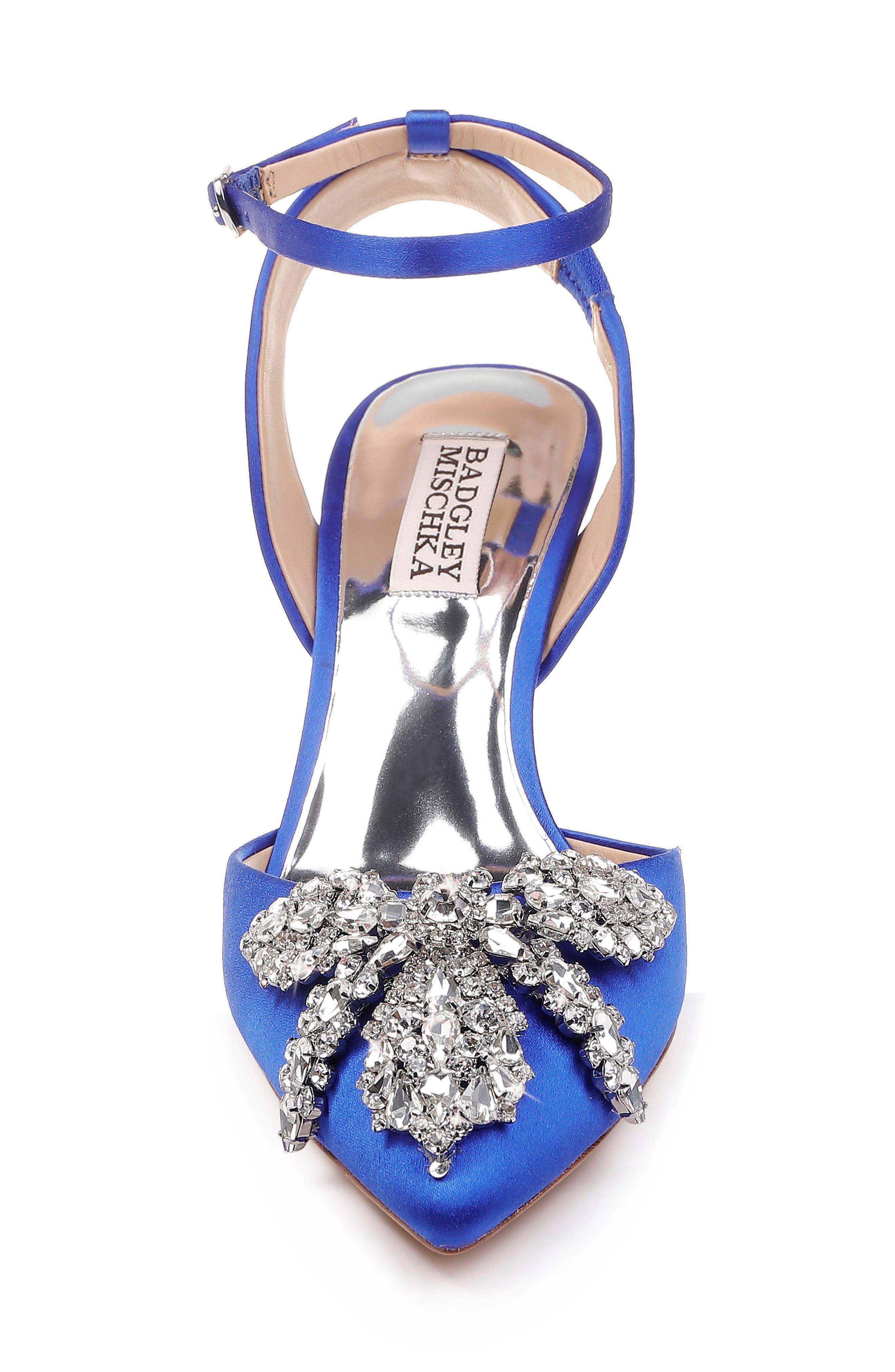 BADGLEY MISCHKA COLLECTION,                             Badgley Mischka Fana Crystal Embellished Pump,                             Alternate thumbnail 4, color,                             AFRICAN BLUE SATIN