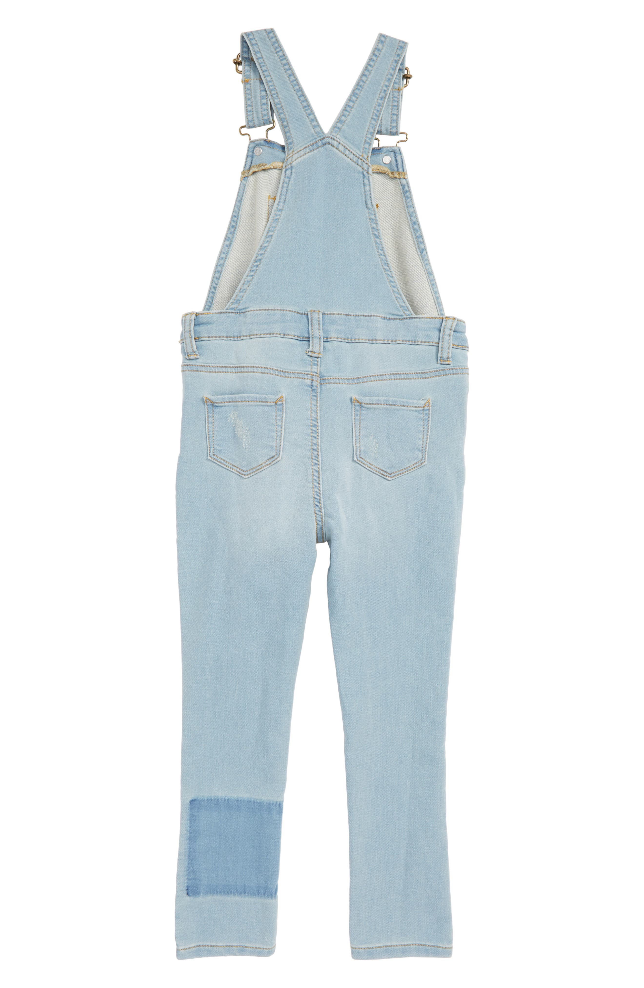 Distressed Denim Skinny Overalls,                             Alternate thumbnail 2, color,                             BLUE PATCH WASH