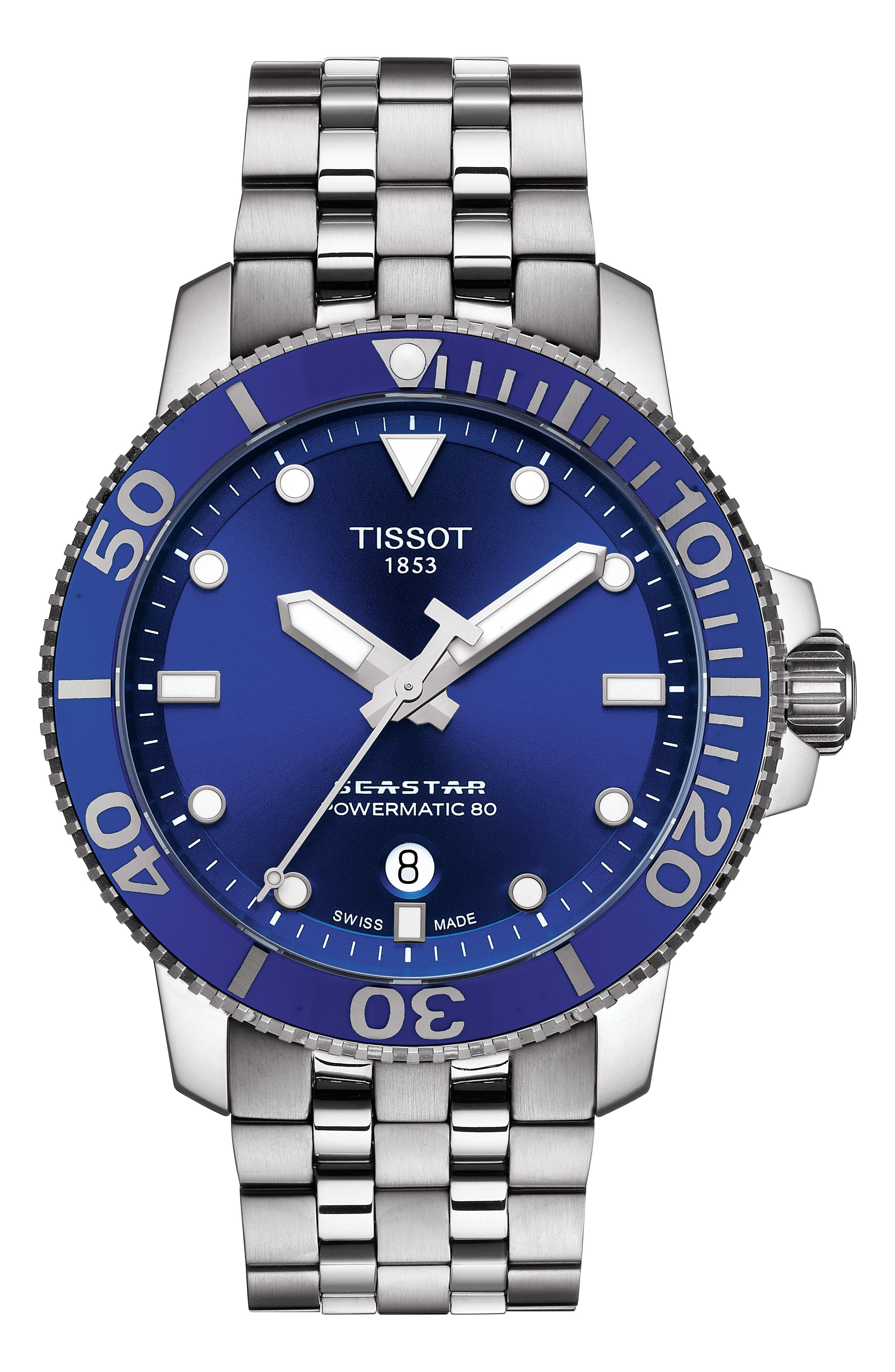 Seastar 1000 Powermatic 80 Bracelet Watch, 43mm,                         Main,                         color, SILVER/ BLUE/ SILVER