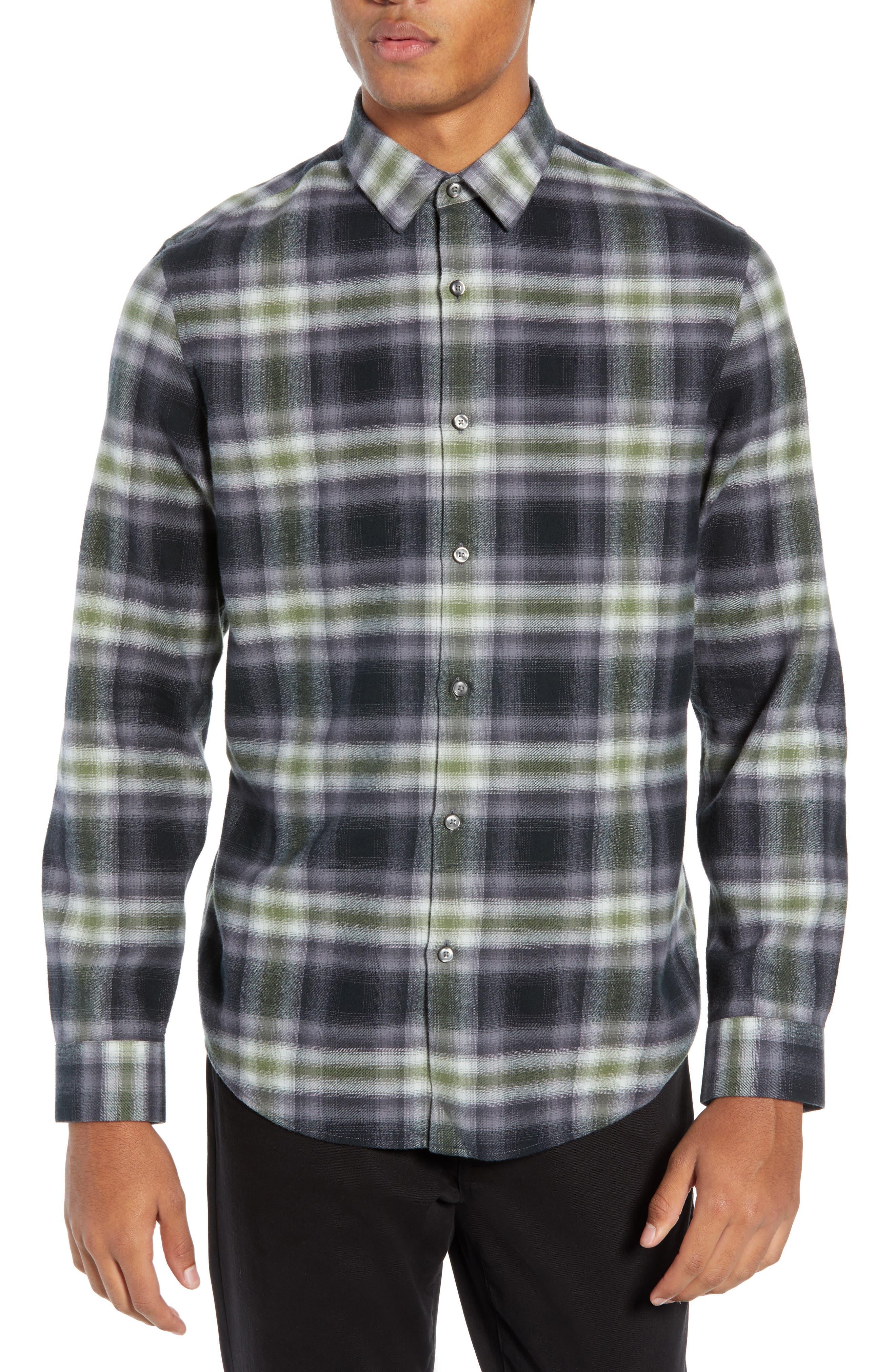 Calibrate Plaid Flannel Sport Shirt, Black
