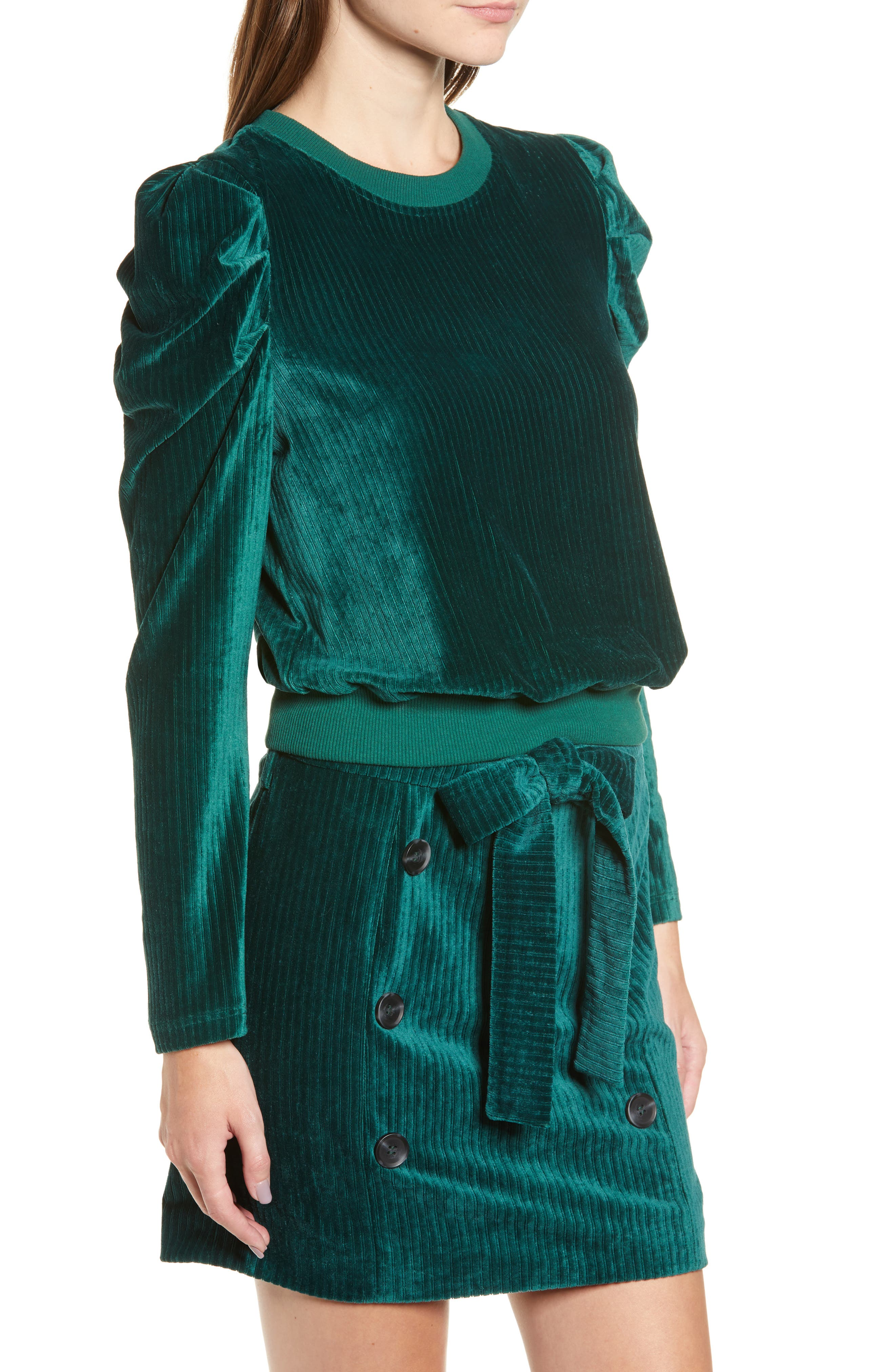 Velour Puff Sleeve Sweatshirt,                             Alternate thumbnail 3, color,                             PINE