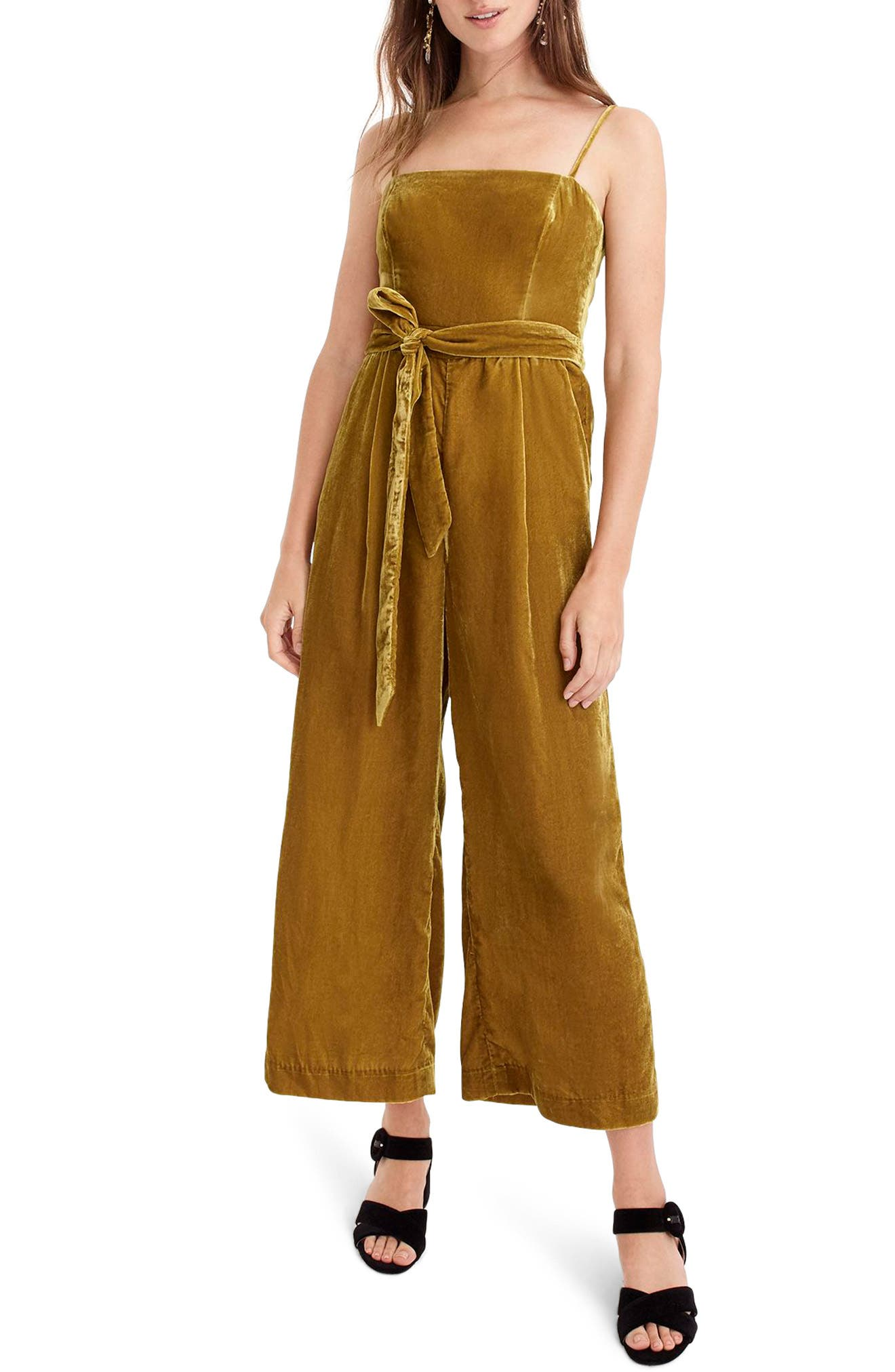 Velvet Jumpsuit with Tie,                             Alternate thumbnail 5, color,                             220