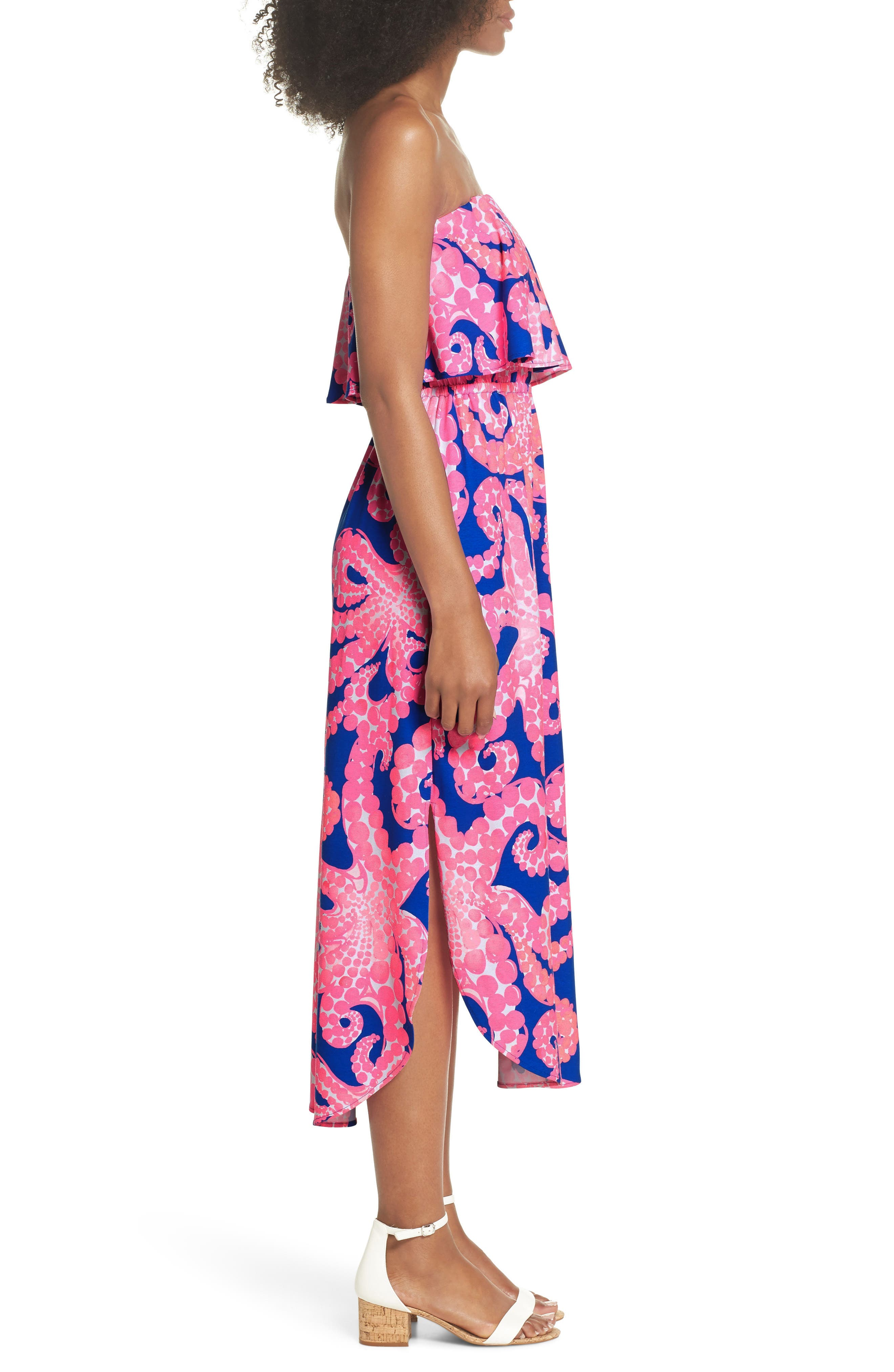 Meridian Strapless Midi Dress,                             Alternate thumbnail 3, color,                             IKAT BLUE MOCEAN