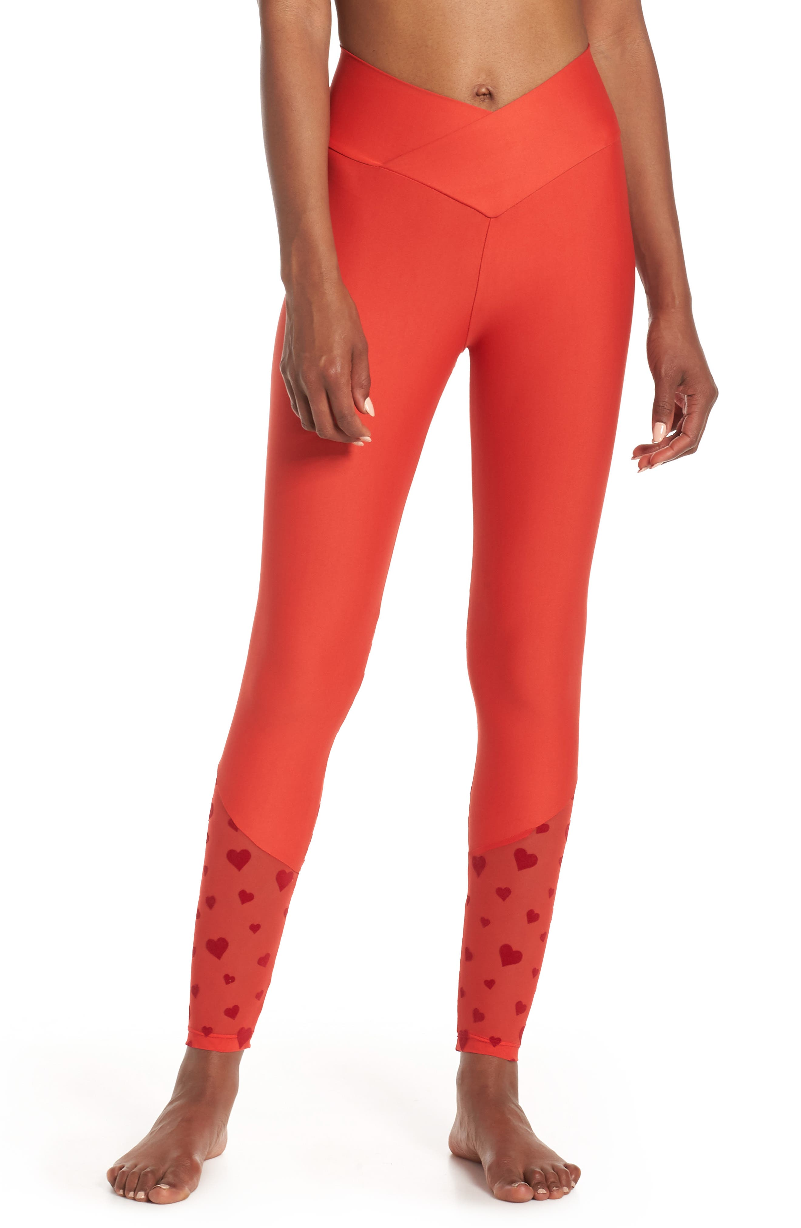 BEACH RIOT Beach Leggings, Main, color, RED HEART